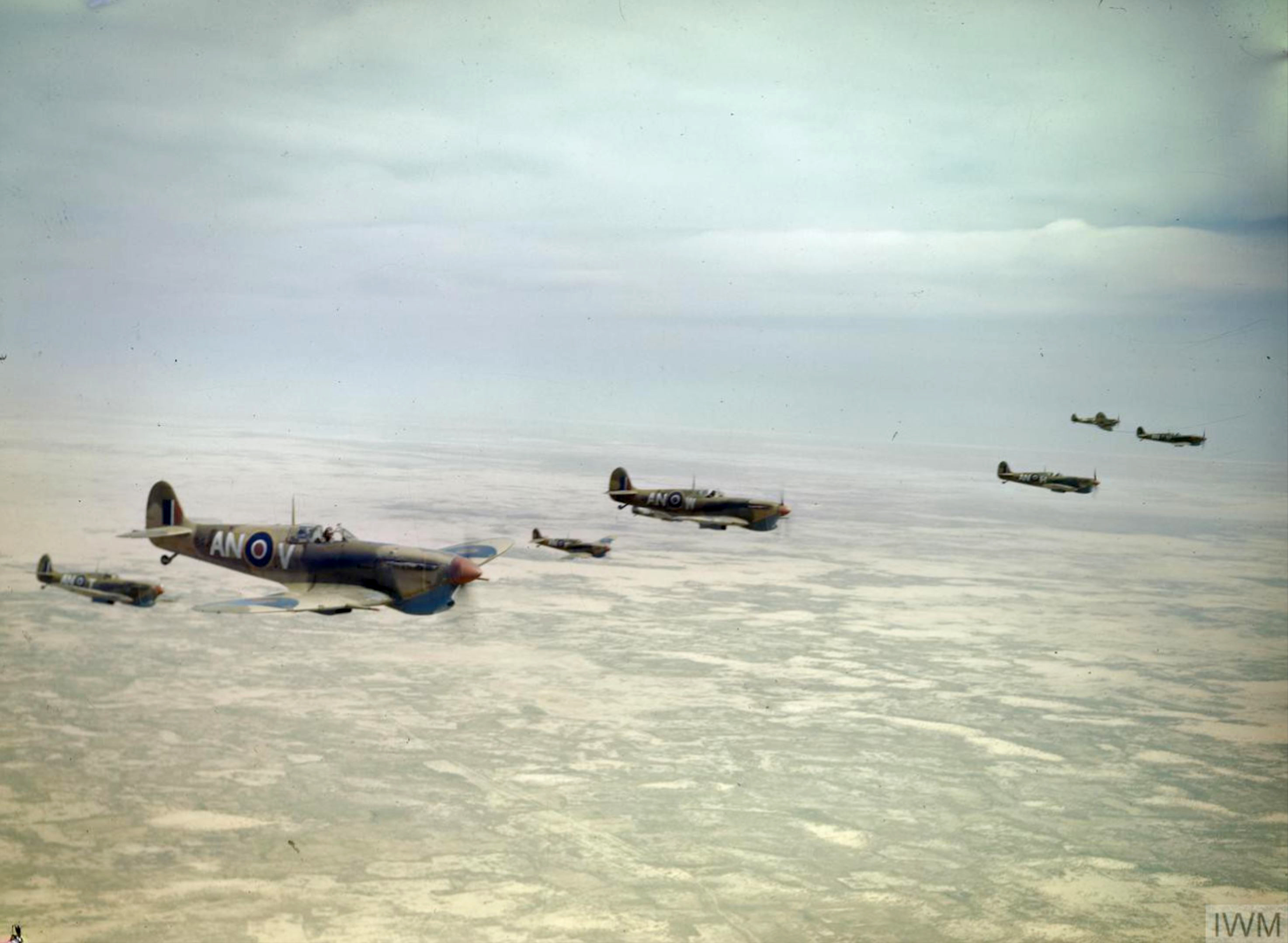 Spitfire MkVbTrop RCAF 417Sqn ANV ANW ANT ANY ANH ANU over Tunisia Apr 1943 IWM TR845