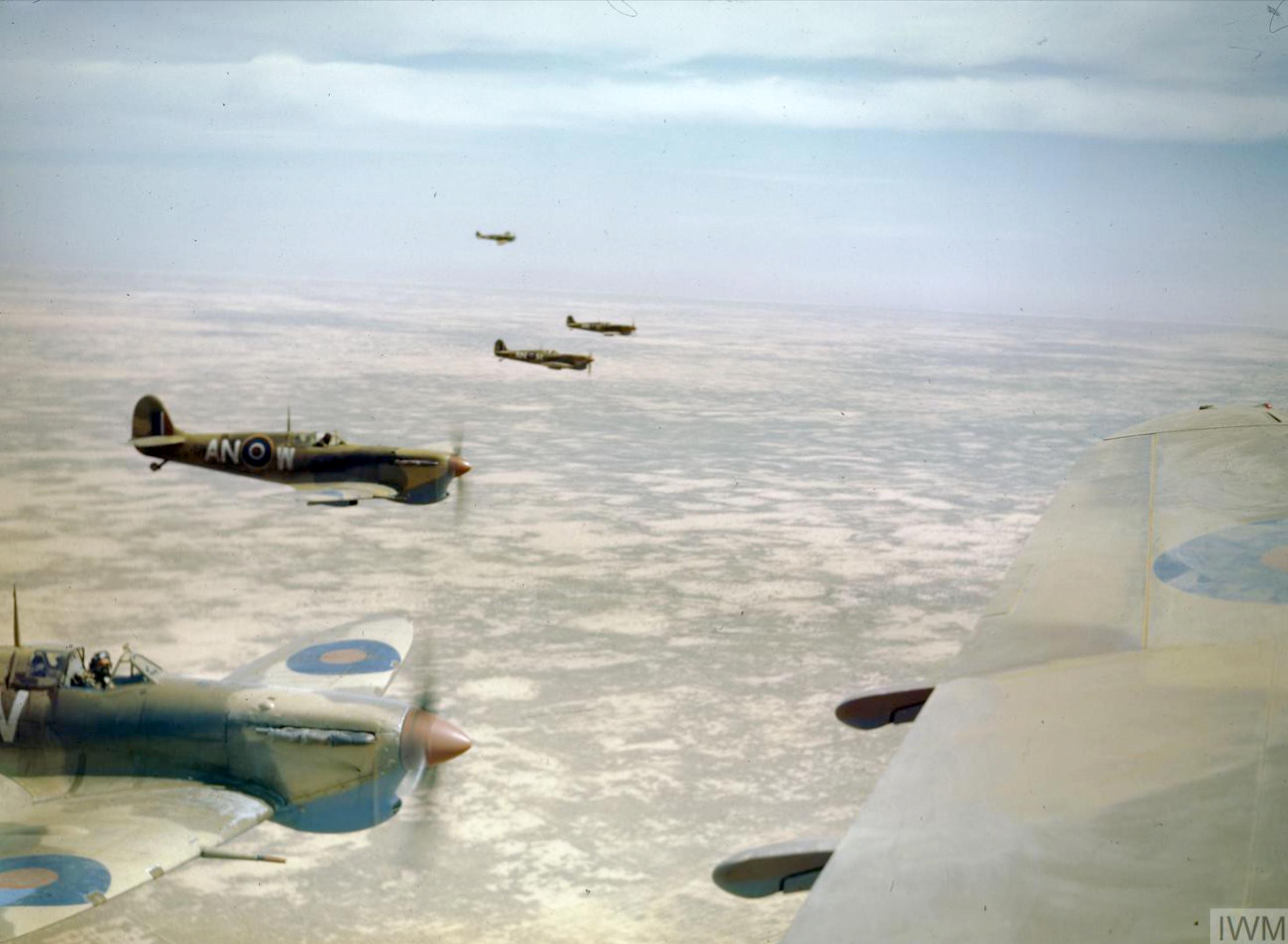 Spitfire MkVbTrop RCAF 417Sqn ANW over Tunisia Apr 1943 IWM TR826