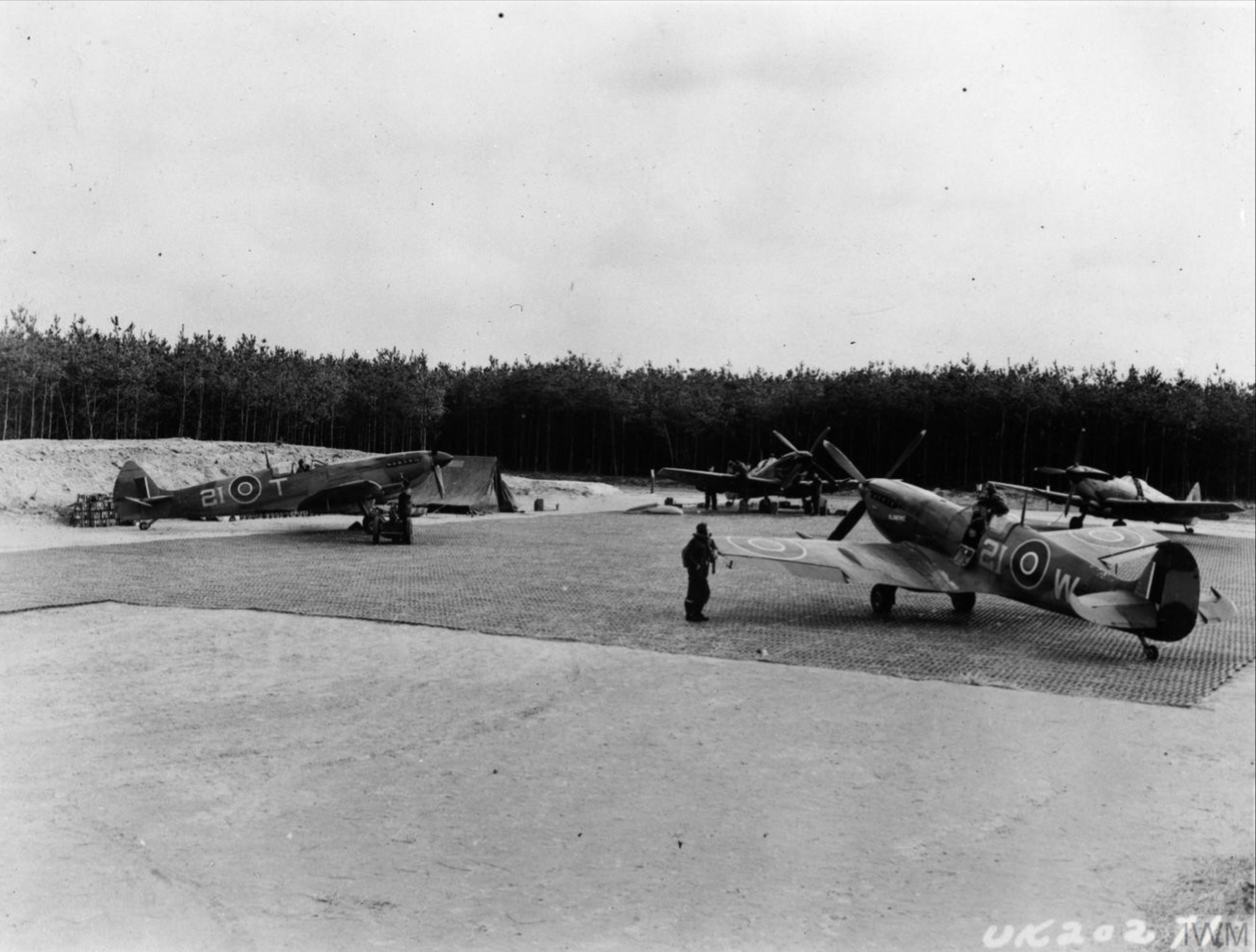 Spitfire LFIXe RCAF 443Sqn 2IW 2IT at B114 Diepholz Germany IWM MH6851