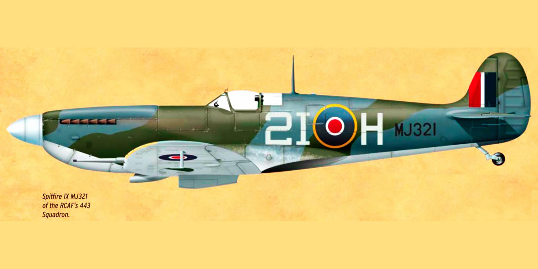Spitfire MkIX RCAF 443Sqn 2IH MJ321 England 1944 0A