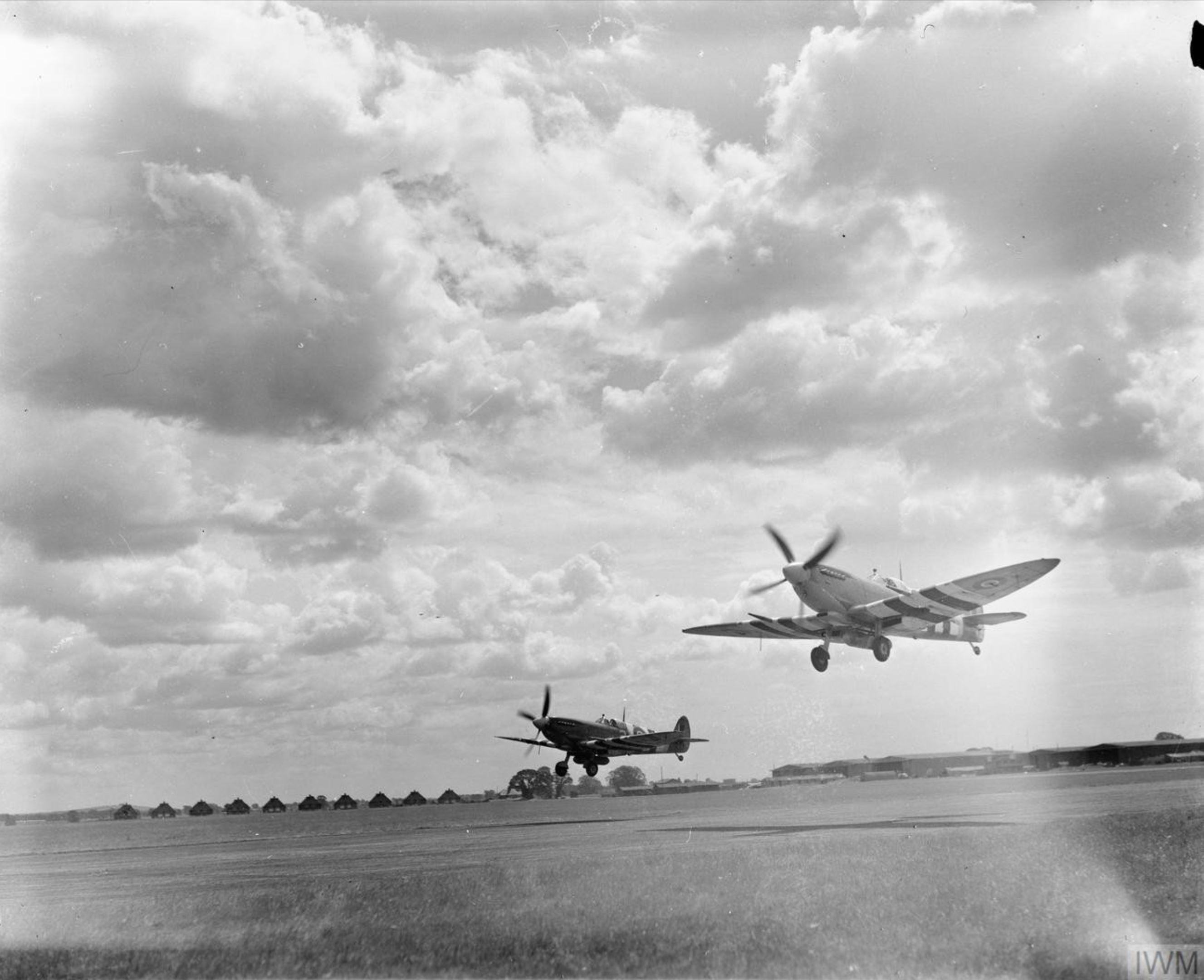 Spitfire MkIX RCAF 443Sqn take off from Ford Sussex IWM HU92139