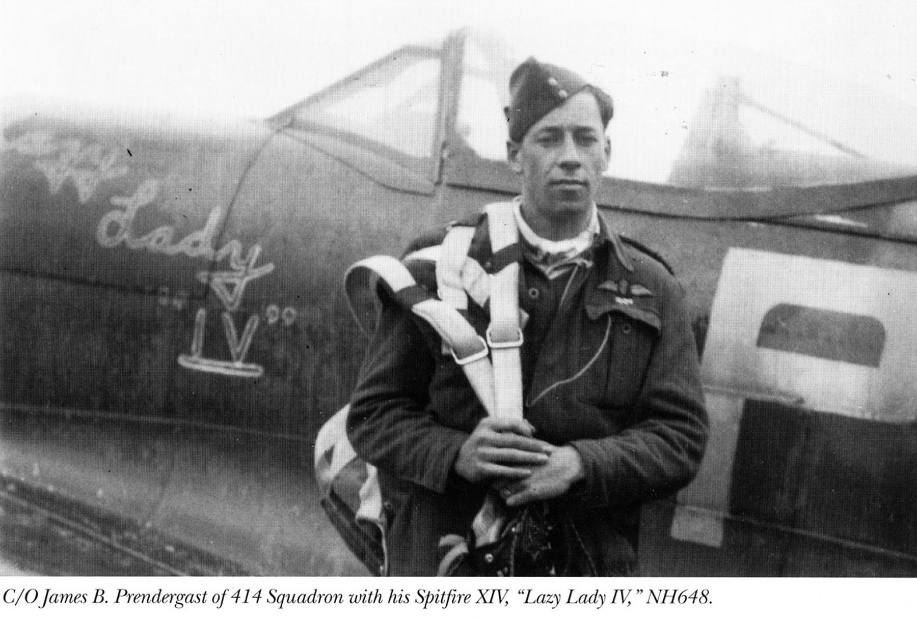 Spitfire FRXIV RCAF 414Sqn James B Prendergast NH648 Apr 1945 01