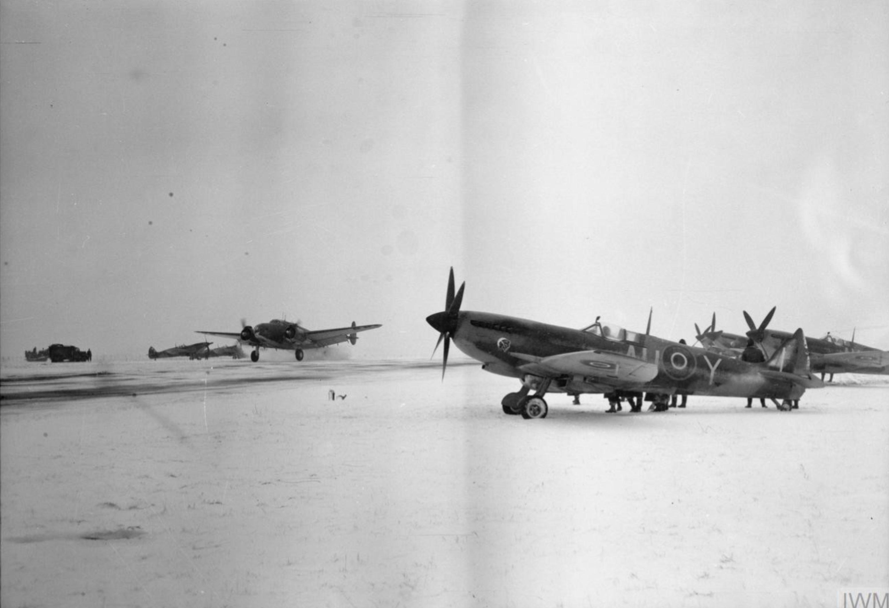 Spitfire LFXVI RCAF 421Sqn AUY at B56 Evere Belgium IWM CL1779