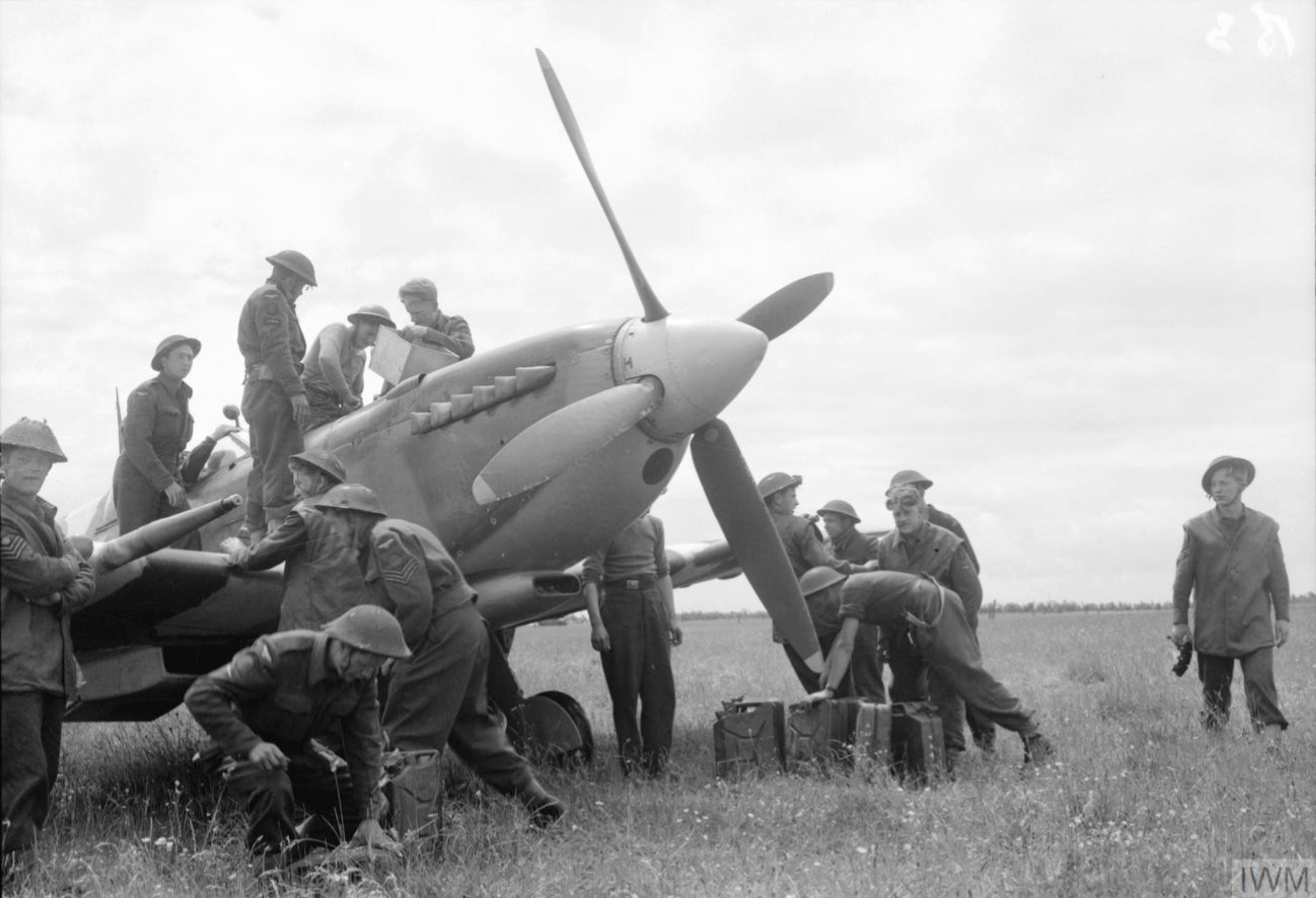 Spitfire MkIX RCAF 441Sqn at B3 Sainte Croix sur Mer Normandy 10 Jun 1944 IWM CL76