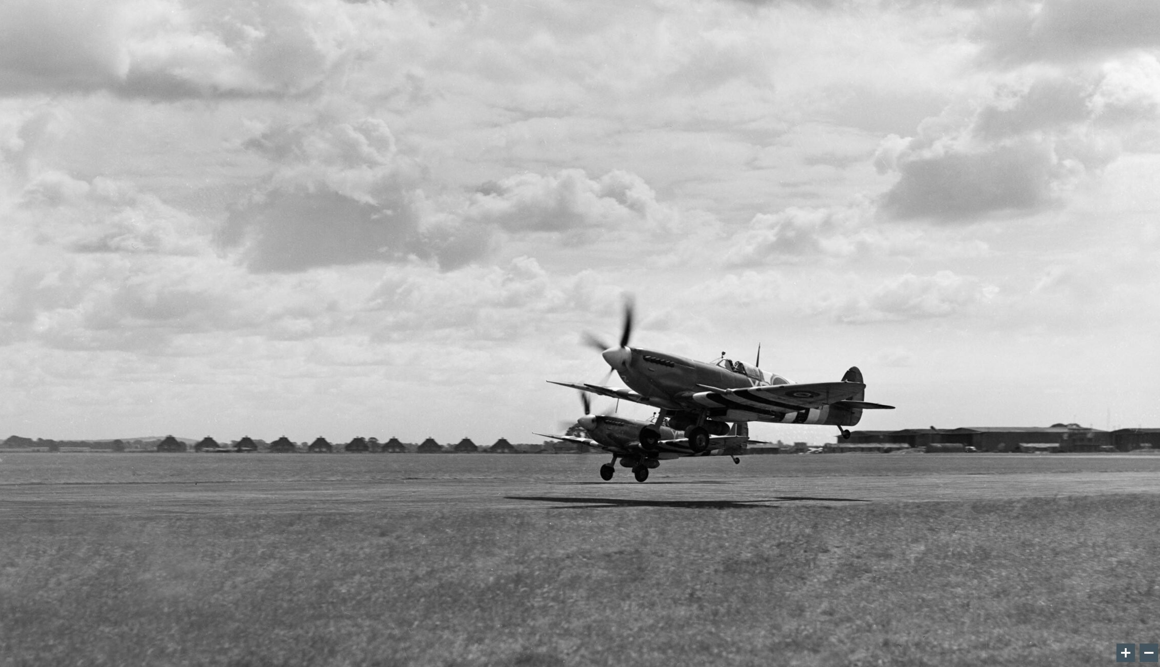 Spitfire MkIXb RCAF 442Sqn Y2Z take off from Ford Sussex IWM HU92137a