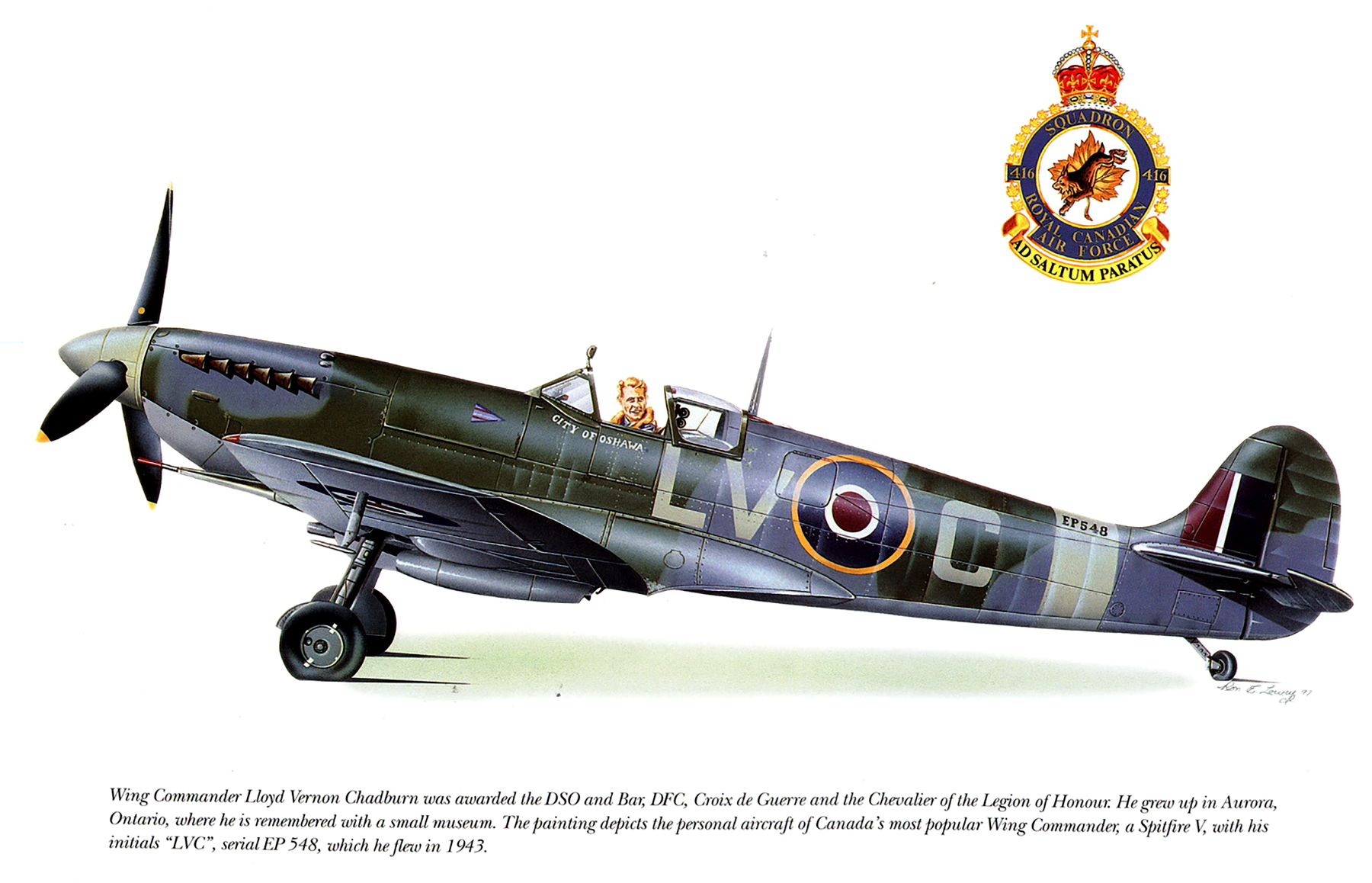 Spitfire MkVb RCAF 416Sqn LVC Lloyd Vernon Chadburn EP548 1943 0A