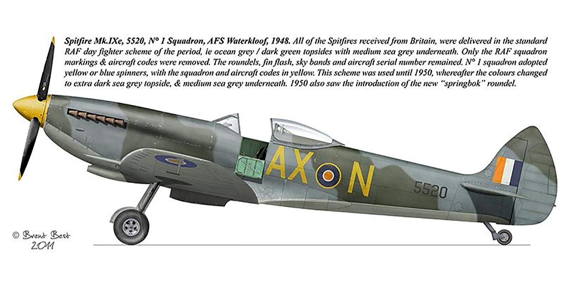 Spitfire HFIXe SAAF 1Sqn AXN 5520 Waterkloof 1948 0A