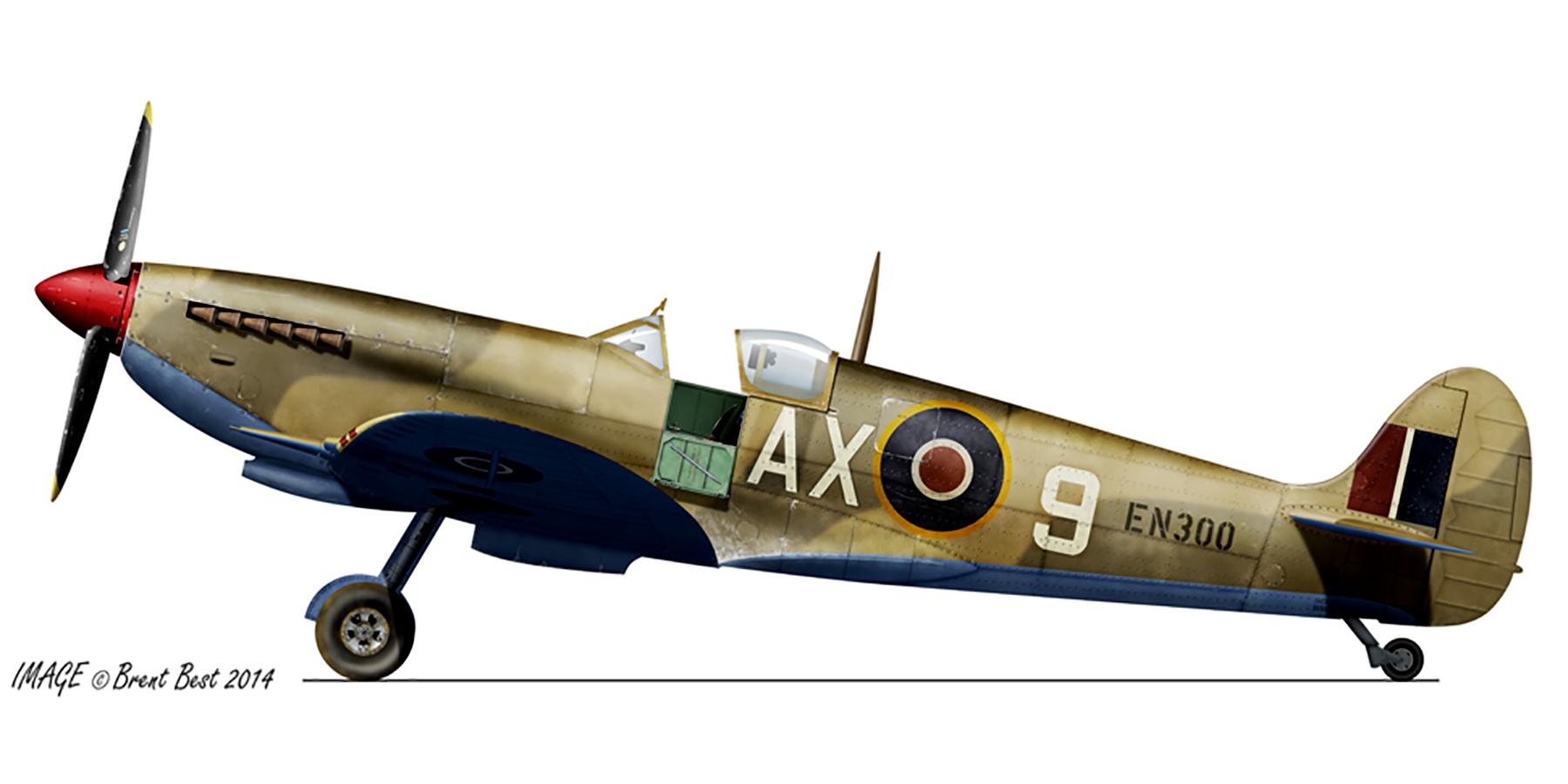 Spitfire MkIX SAAF 1Sqn AX9 EN300 Luqa Malta Jun 1943 0A