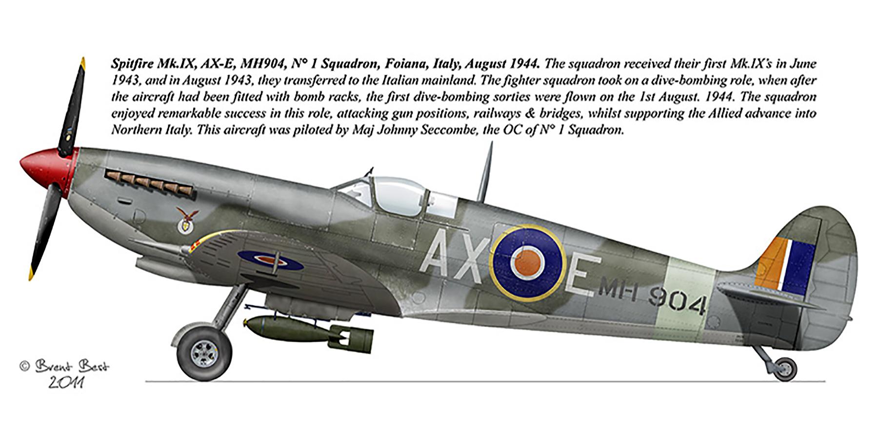 Spitfire MkIX SAAF 1Sqn AXE MH904 Foiana Italy Aug 1944 0A