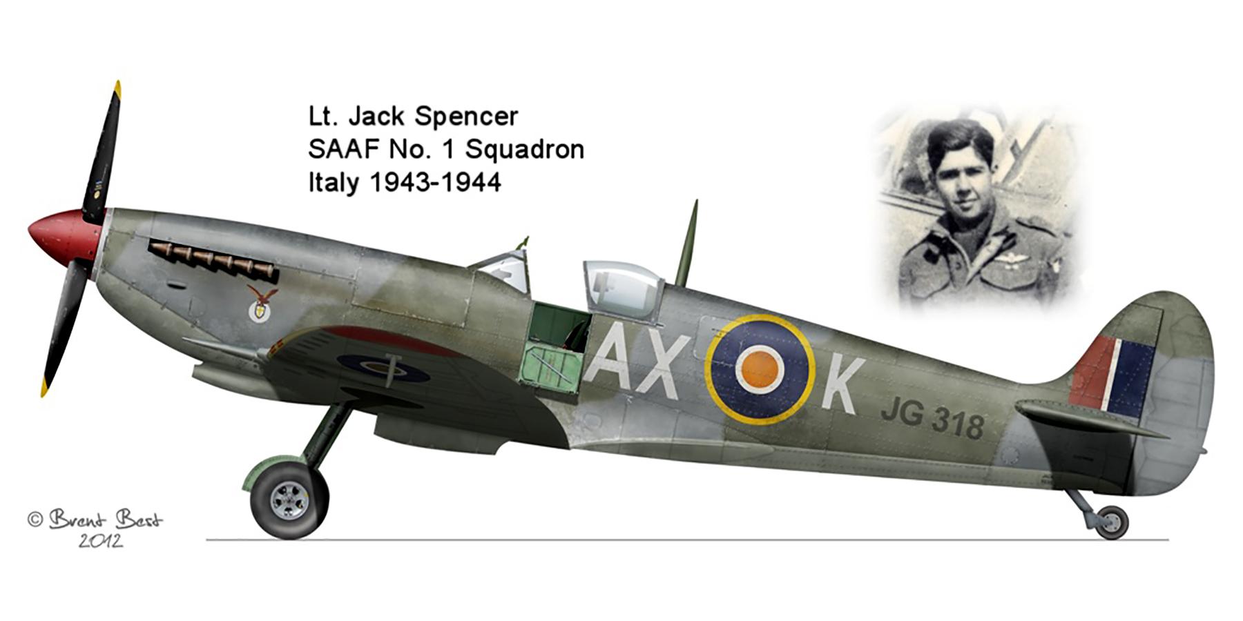 Spitfire MkVIII SAAF 1Sqn AXK JG318 Italy 1943 0A