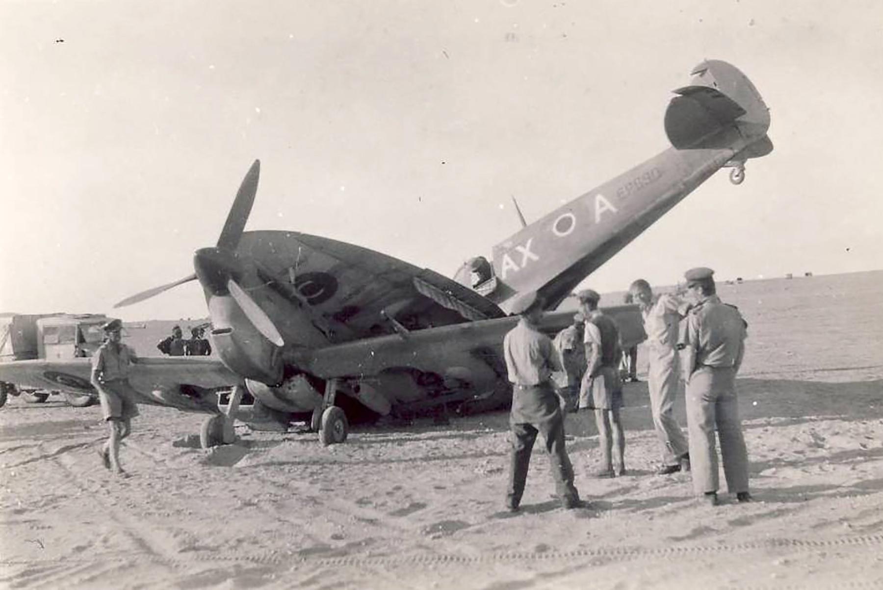Spitfire MkVbTrop SAAF 1Sqn AXA EP690 landing accident El Hasseiat 4th Dec 1942 01
