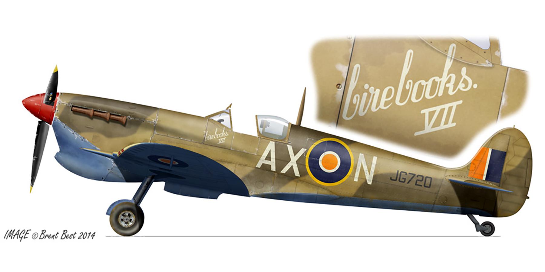 Spitfire MkVcTrop SAAF 1Sqn AXN Lt Robbie Robinson JG720 Ben Gardane Tunisia Jun 1943 0A