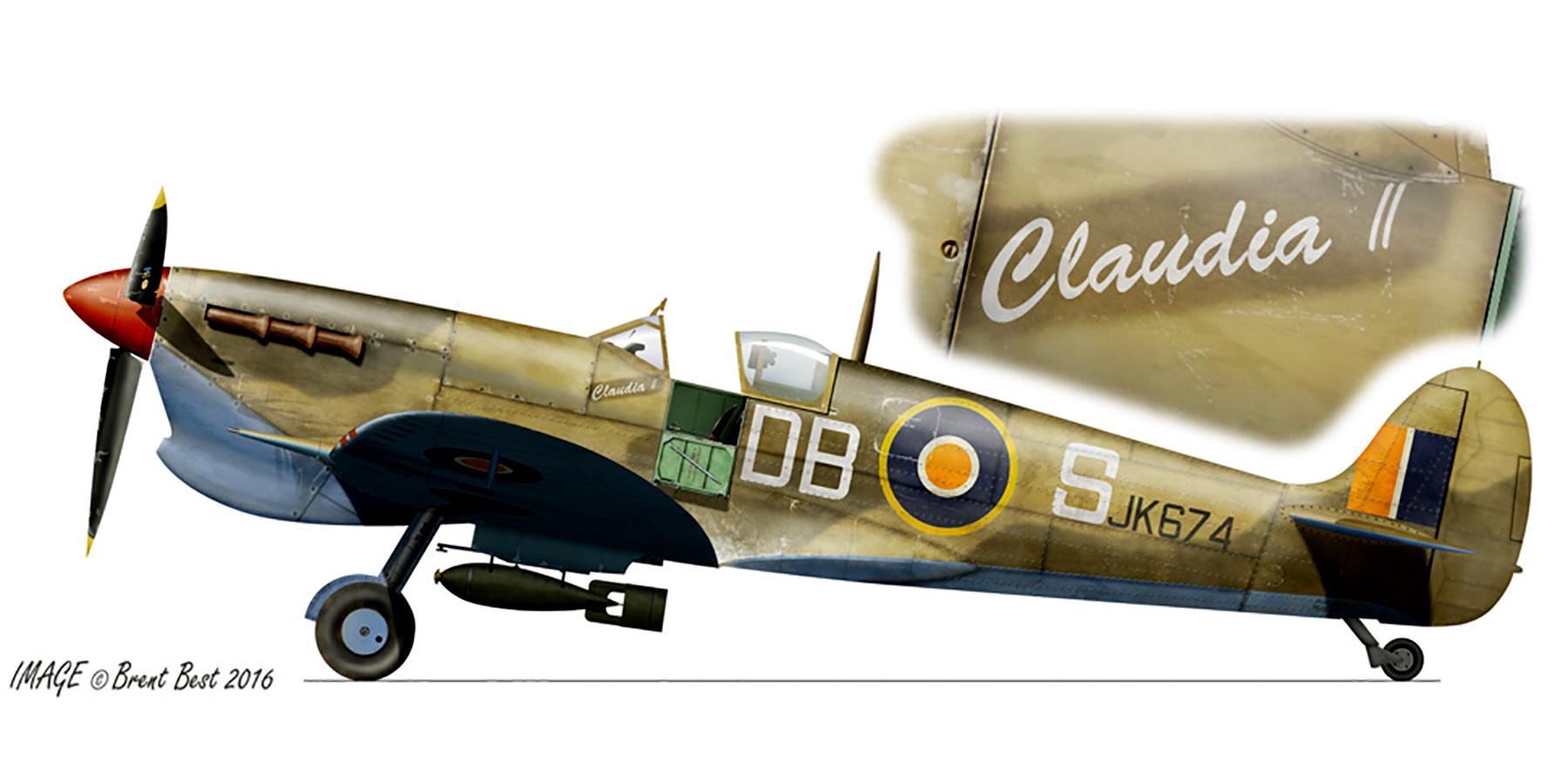 Spitfire MkVcTrop SAAF 2Sqn DBS Lt Barnett JK674 Palata Italy Oct 1943 0A