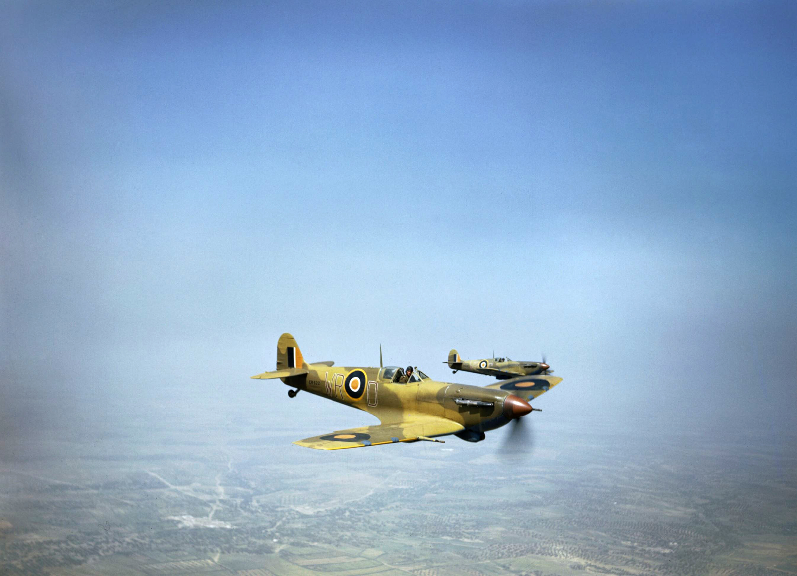 Spitfire LFVb SAAF 40Sqn WRD ER622 and WRC supporting ground forces Tunisia IWM TR1019