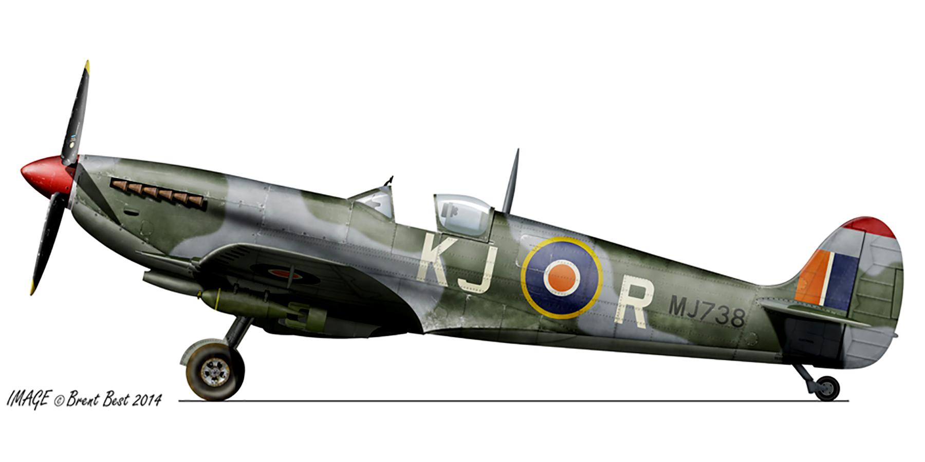 Spitfire LFIX SAAF 4Sqn KJR Lt Burger MJ738 Sinella Italy May 1944 0A