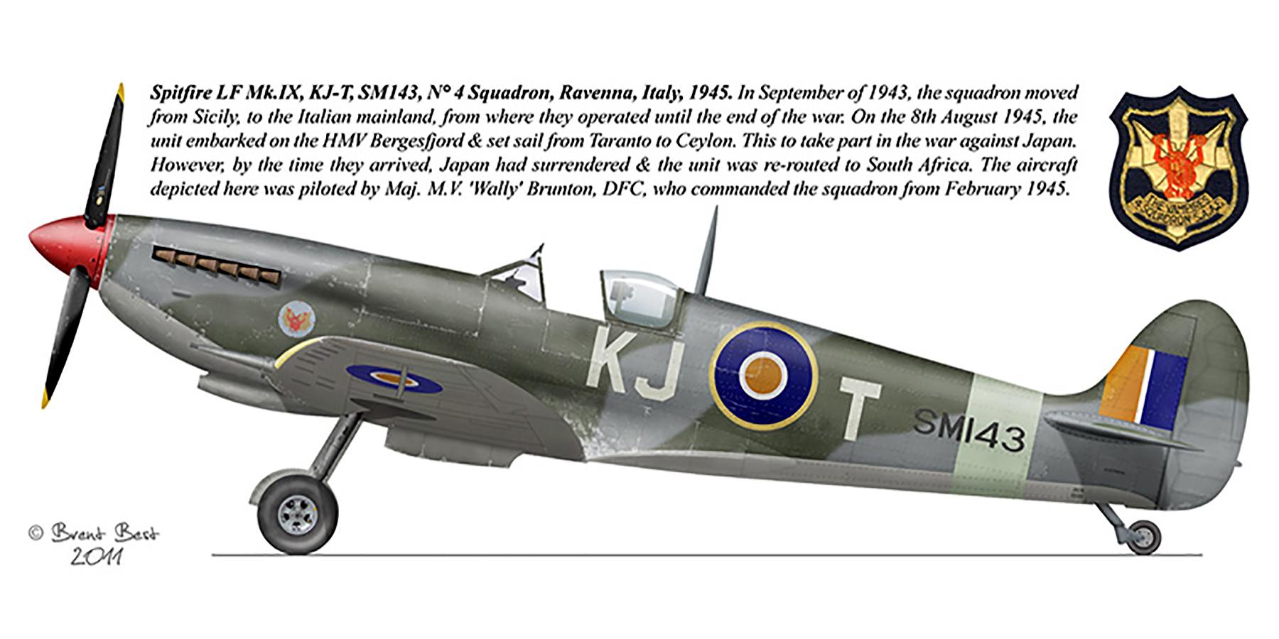Spitfire LFIX SAAF 4Sqn KJT Maj Brunton SM143 Ravenna Italy 1945 0B
