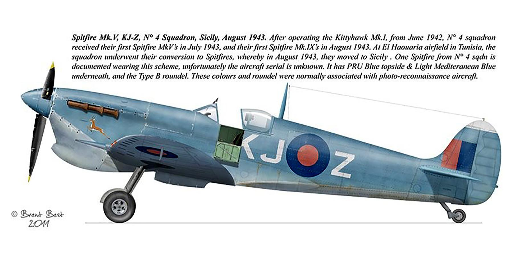 Spitfire MkVcTrop SAAF 4Sqn KJZ Sicily Italy 1943 0A