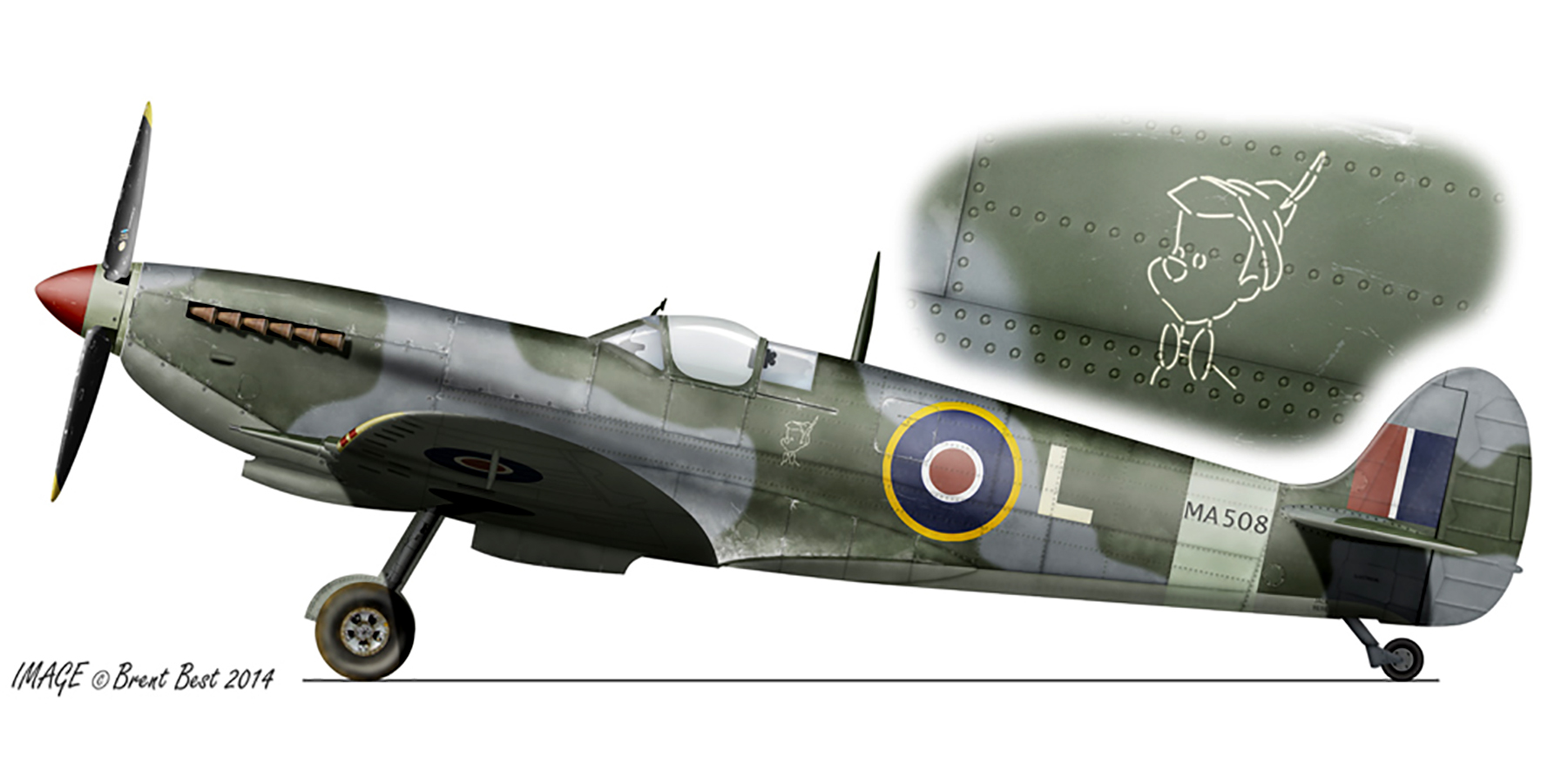 Spitfire MkIX SAAF 10Sqn L MA508 Savoia Libya Sep 1944 0A