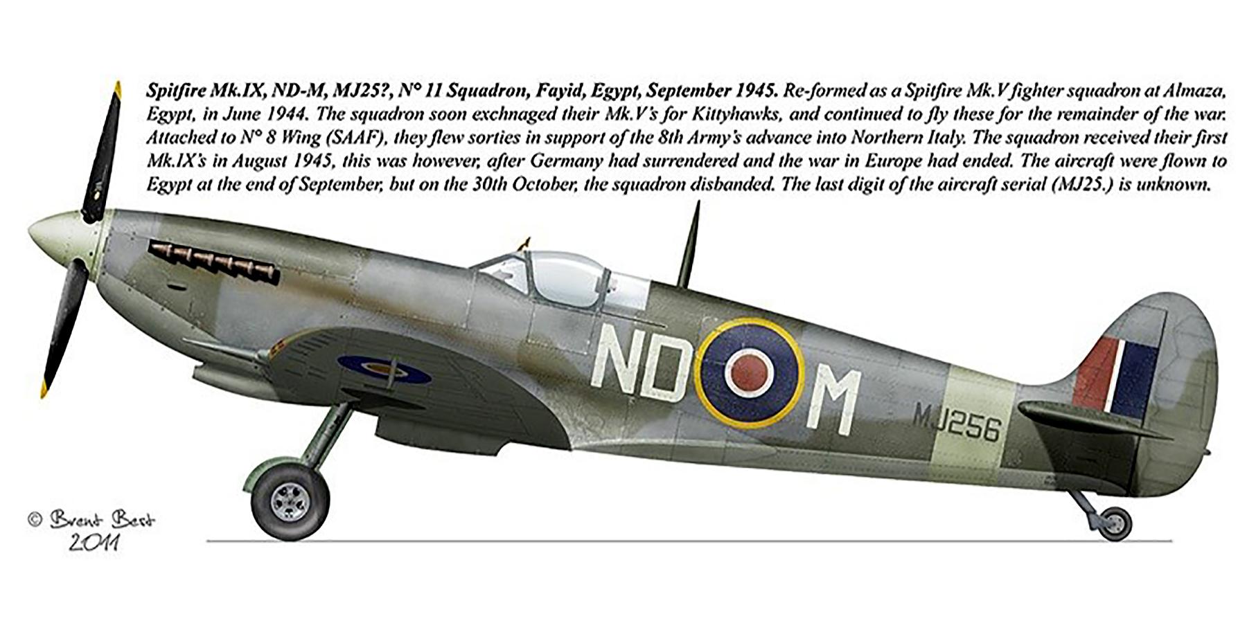 Spitfire MkIX SAAF 11Sqn NDM MJ25x Fayid Egypt Sep 1945 0A
