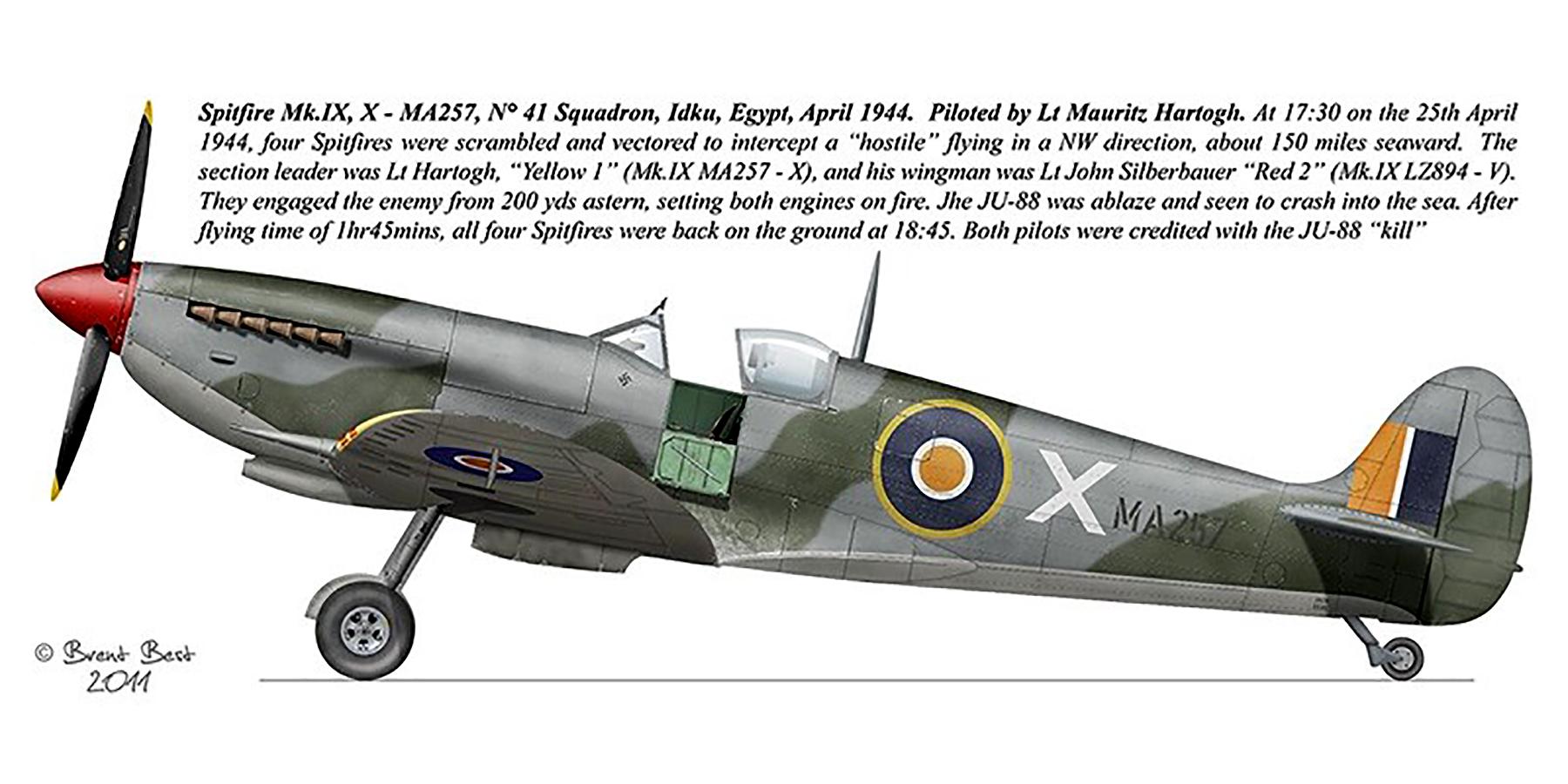 Spitfire MkIX SAAF 41Sqn X Mauritz Hartogh MA257 Idku Egypt Apr 1944 0A