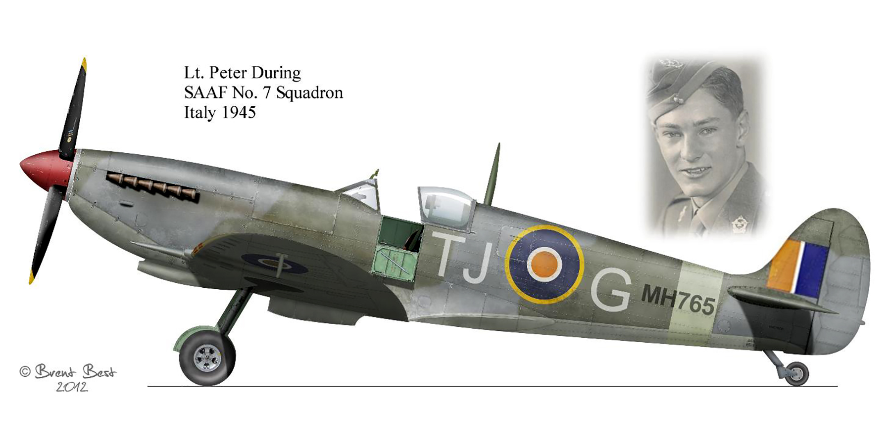 Spitfire MkIX SAAF 7Sqn TJG Peter During MH765 Italy 1945 0A