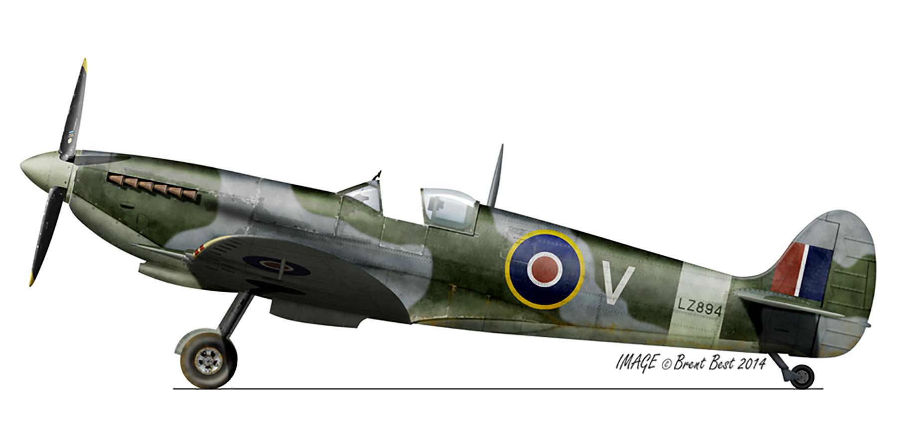 Spitfire MkIX SAAF 9Sqn V LZ894 Lakatamia Cyprus Jul 1944 0A