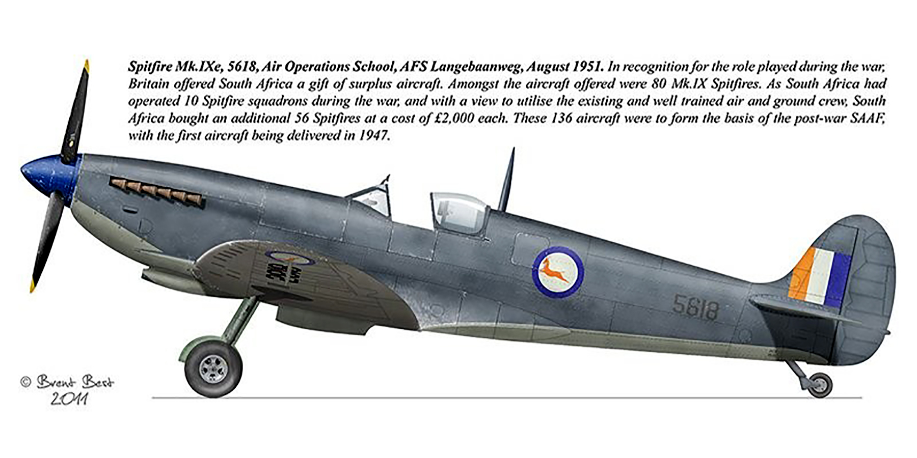Spitfire MkIX SAAF AFS 5618 Langebaanweg Aug 1951 0A
