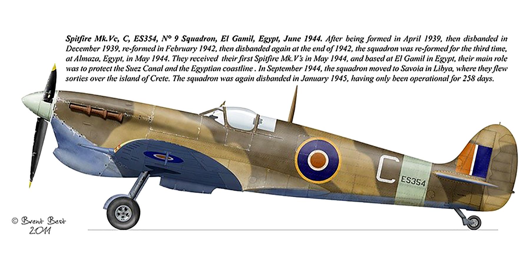 Spitfire MkVcTrop SAAF 9Sqn C ES354 El Gamil Egypt Jun 1944 0A