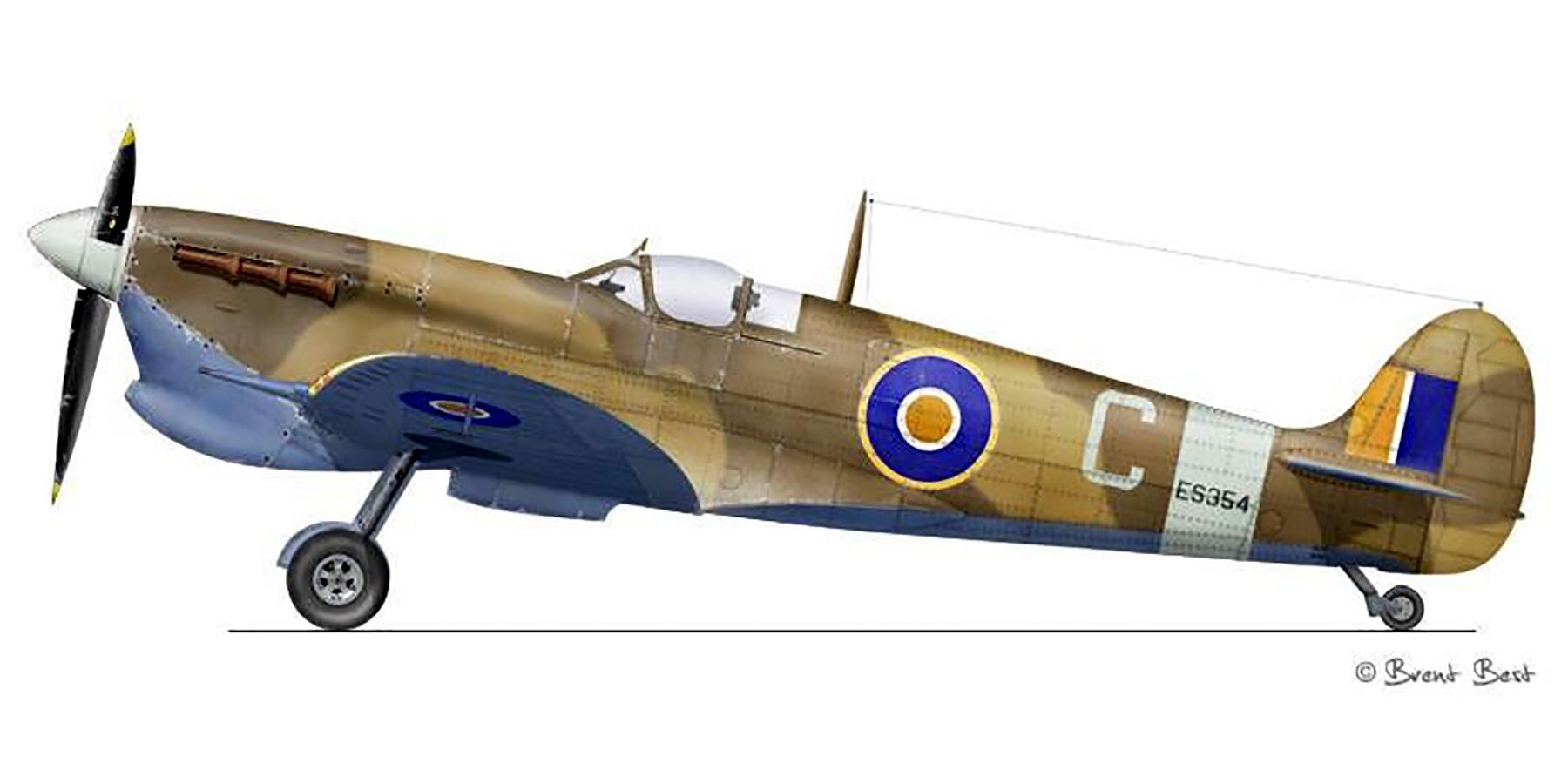 Spitfire MkVcTrop SAAF 9Sqn C ES354 El Gamil Egypt Jun 1944 0B