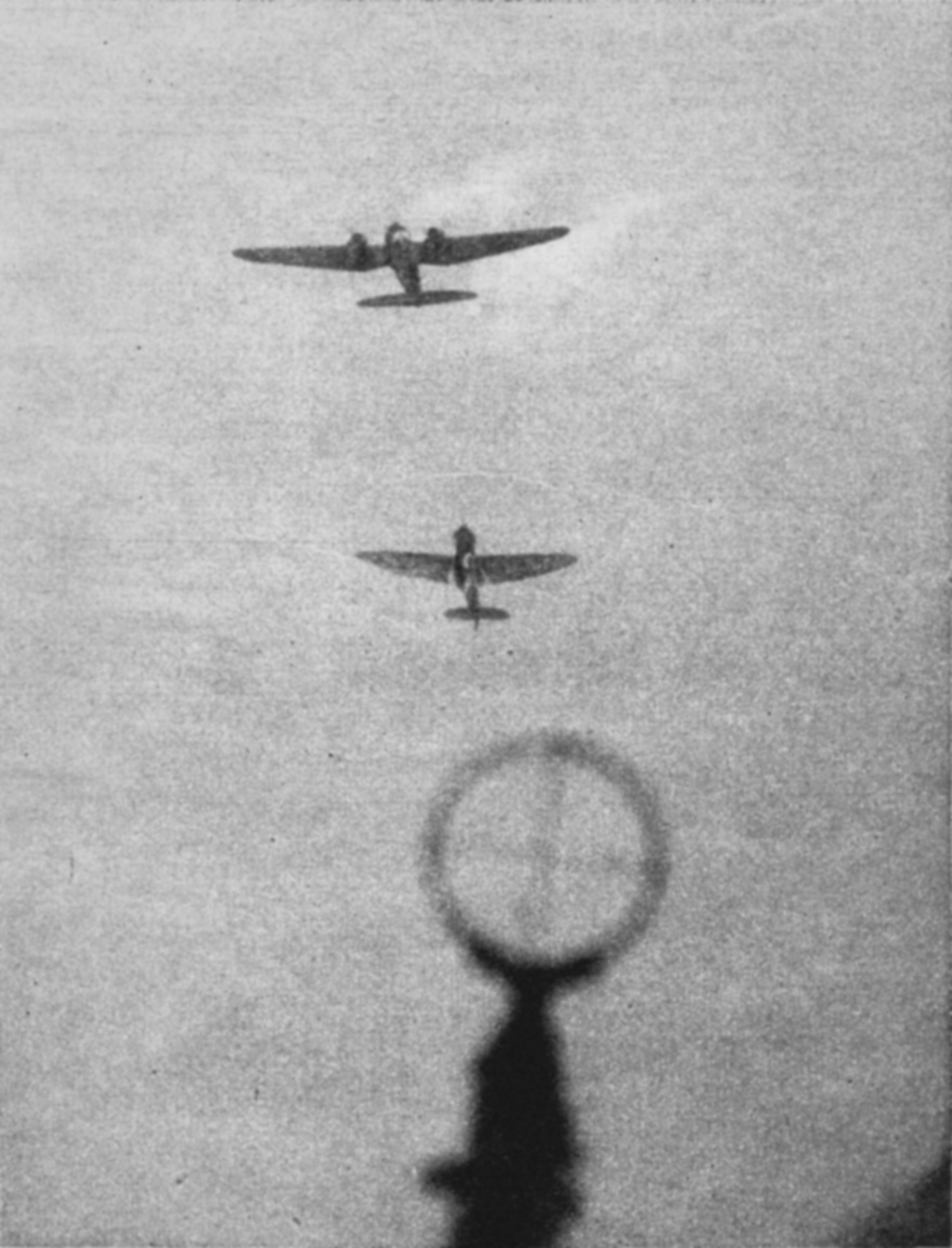Camera battle footage between Luftwaffe He 111H bombers and a RAF Spitfire off the coast Spring 1941 02