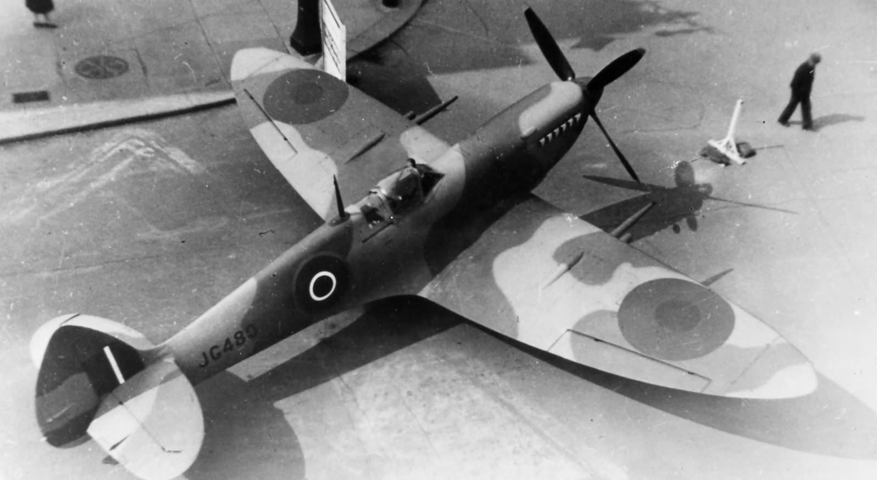 Factory fresh Spitfire MkVIII RAF JG480 viewed from above web 01