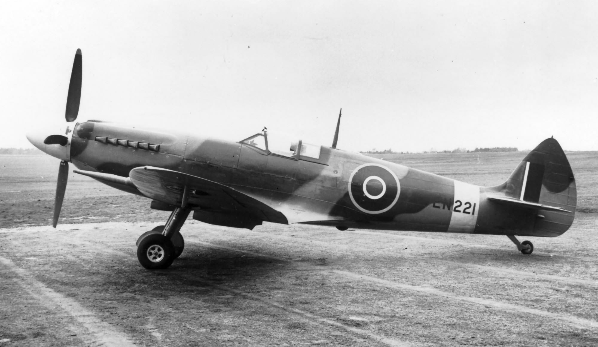 Factory fresh Spitfire MkXII RAF EN221 first production run of the XII on the ground web 01