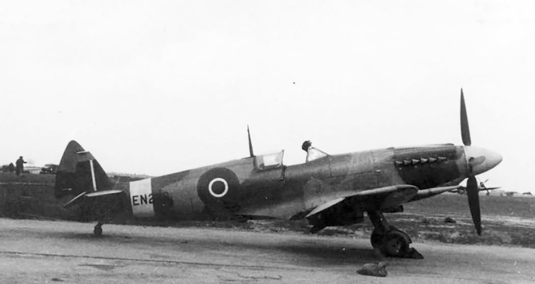 Factory fresh Spitfire MkXII RAF EN238 on the ground web 02