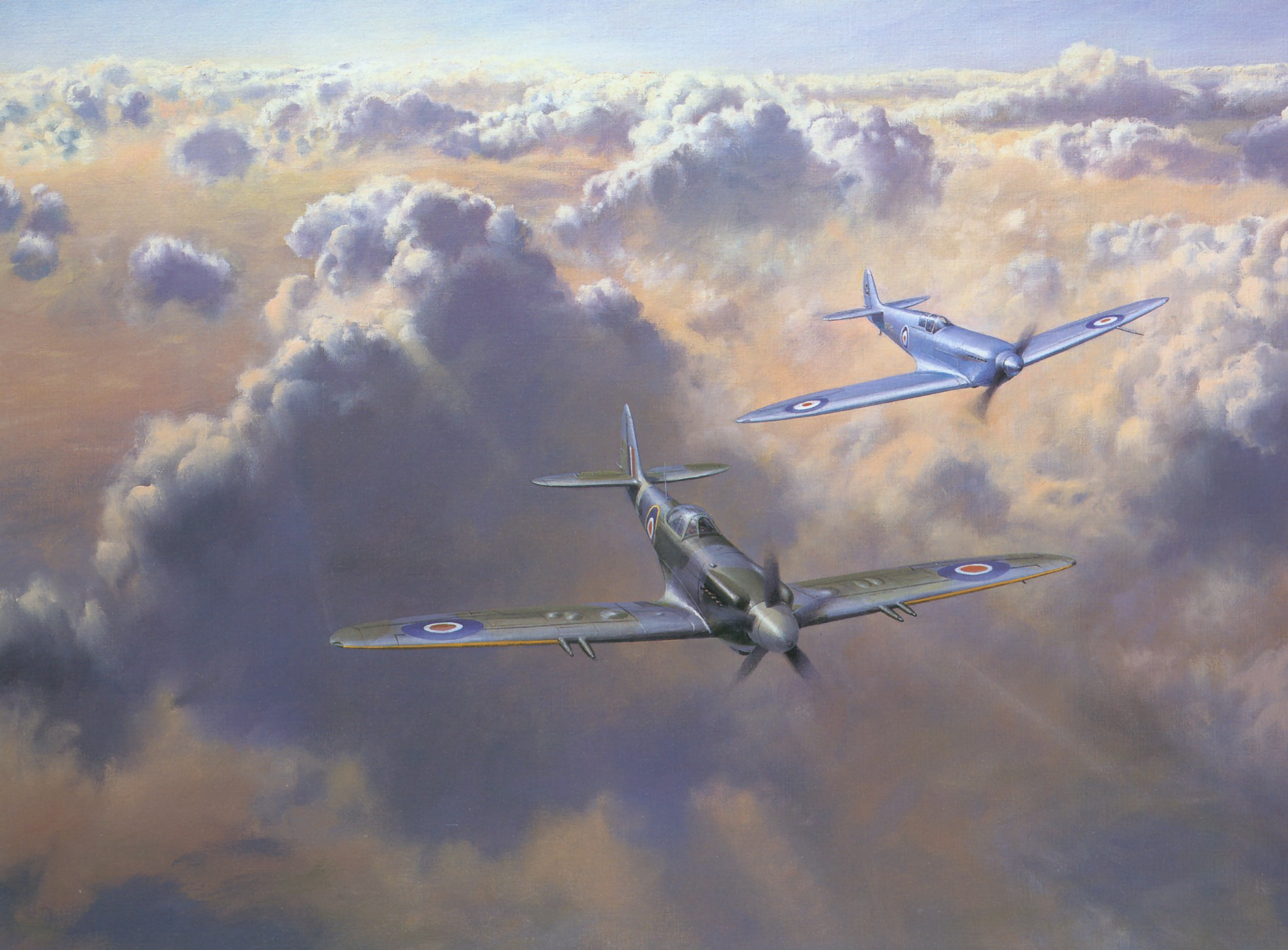 Painting by Roy Cross Spitfire Mk24 of 1946 flanked by original prototype of 1936 0A