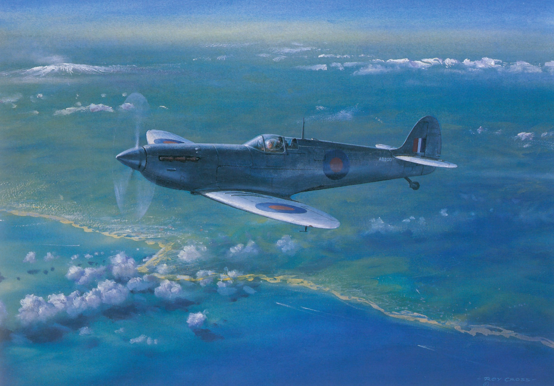 Recon Painting by Roy Cross Spitfire PRIV RAF AB300 cruises 25000ft over Sicily 0A