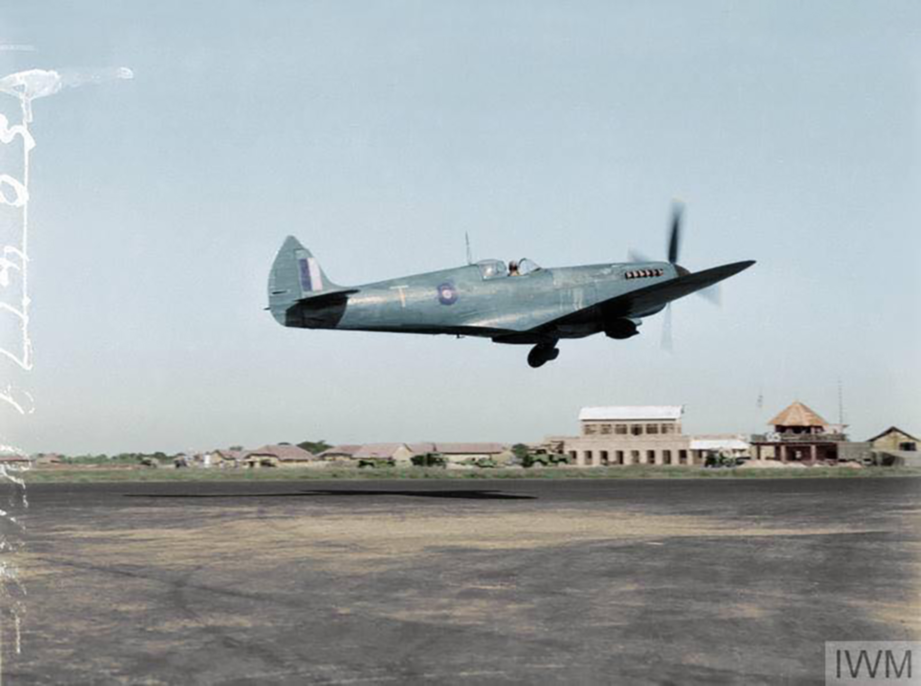 Recon Spitfire PRXI RAF 681Sqn T taking off from Chittagong India IWM CF1245