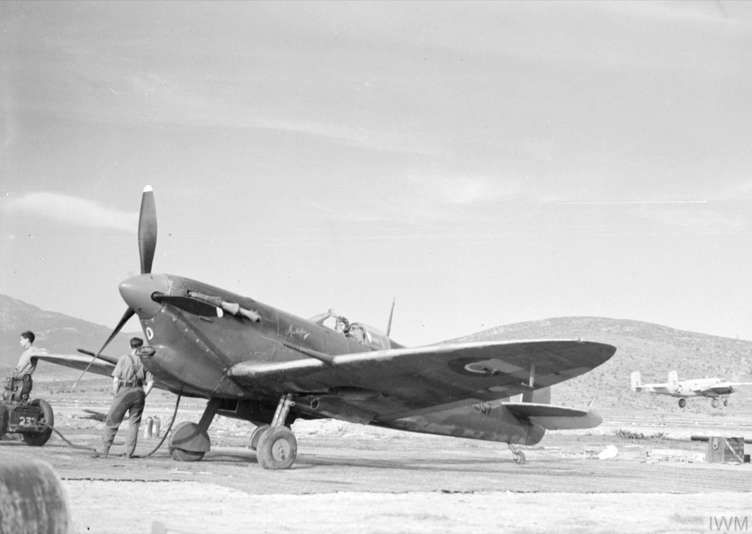Spitfire MKVbTrop RAF 232Sqn EFD Mustapha ER557 in its dispersal at Tingley Algeria IWM CNA286