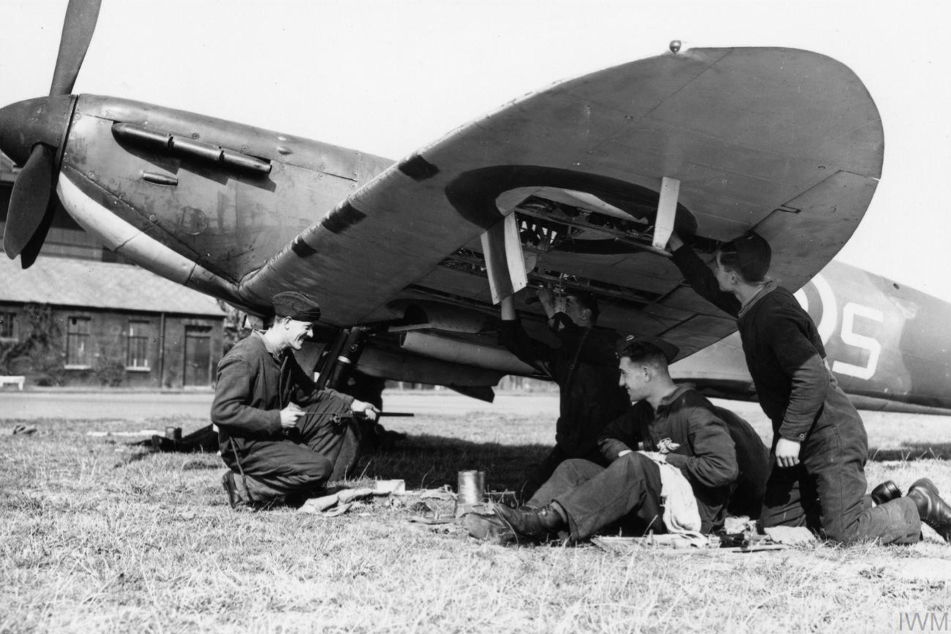 Spitfire MkI being rearmed at Biggin Hill Sep 1940 IWM HU104499