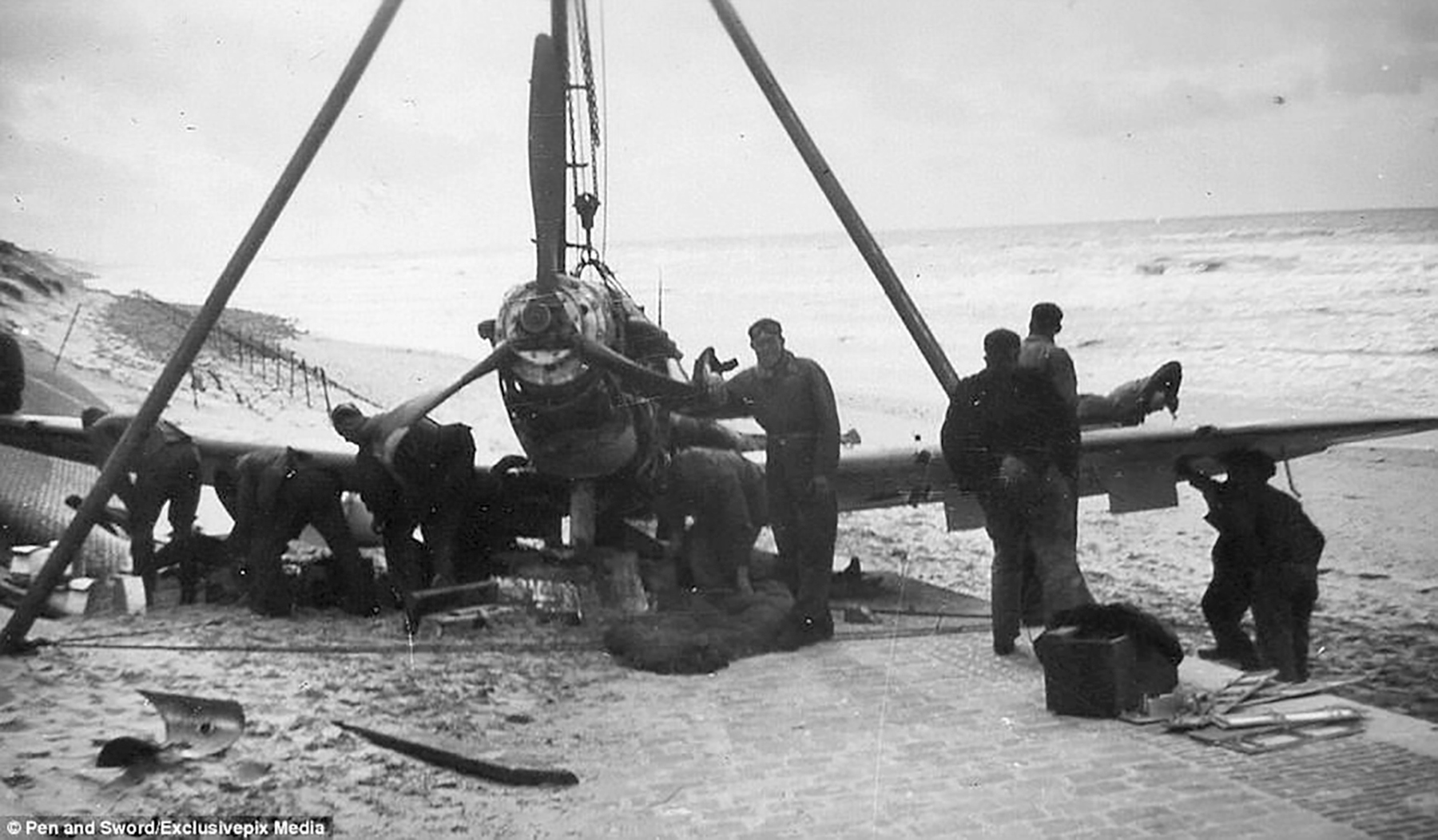 Spitfire MkI being salaveged by Germans after beaching at Dunkirk 1940 01