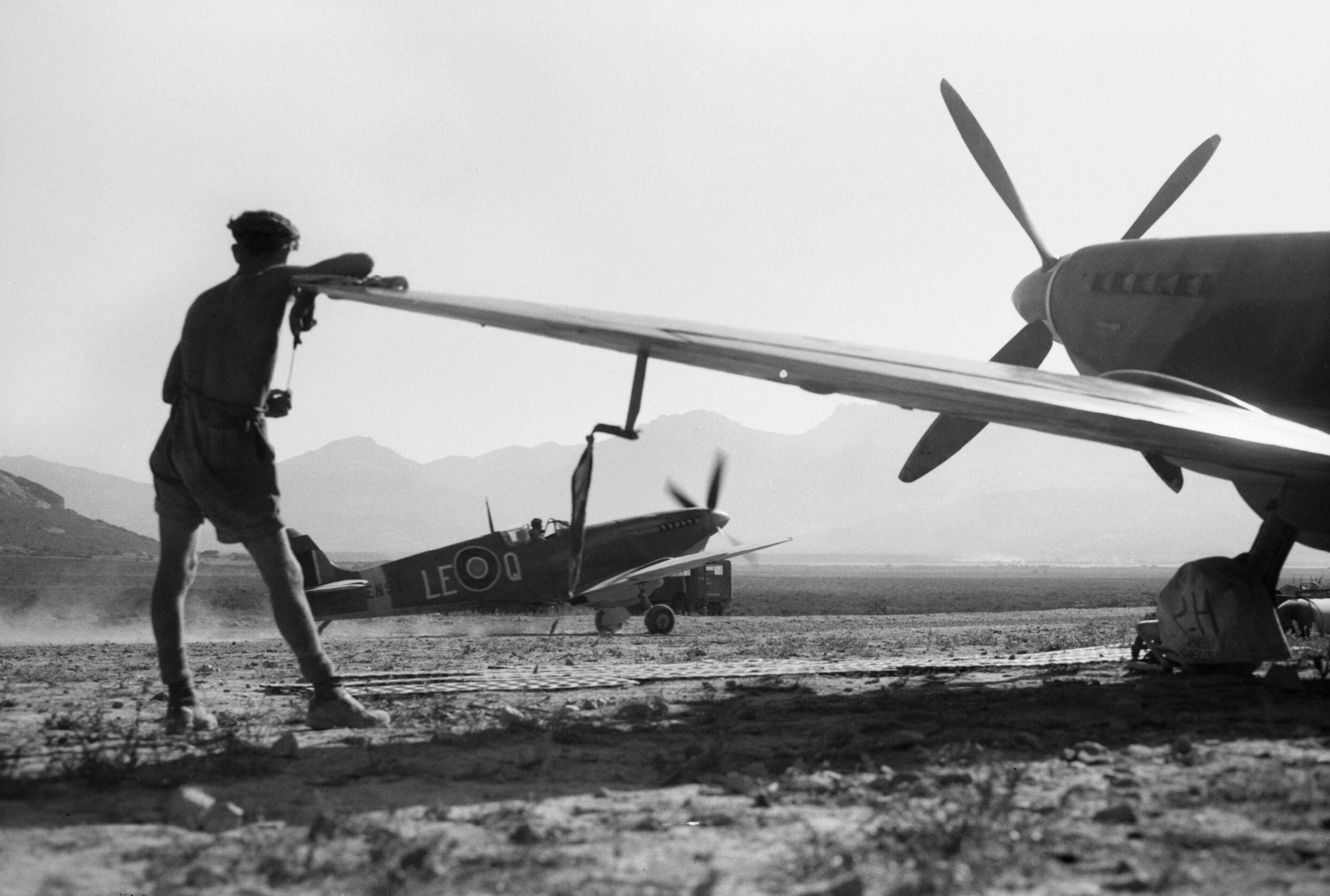 Spitfire MkIX RAF 242Sqn at Calenzana Corsica France 17 Aug 1944 IWM CL880