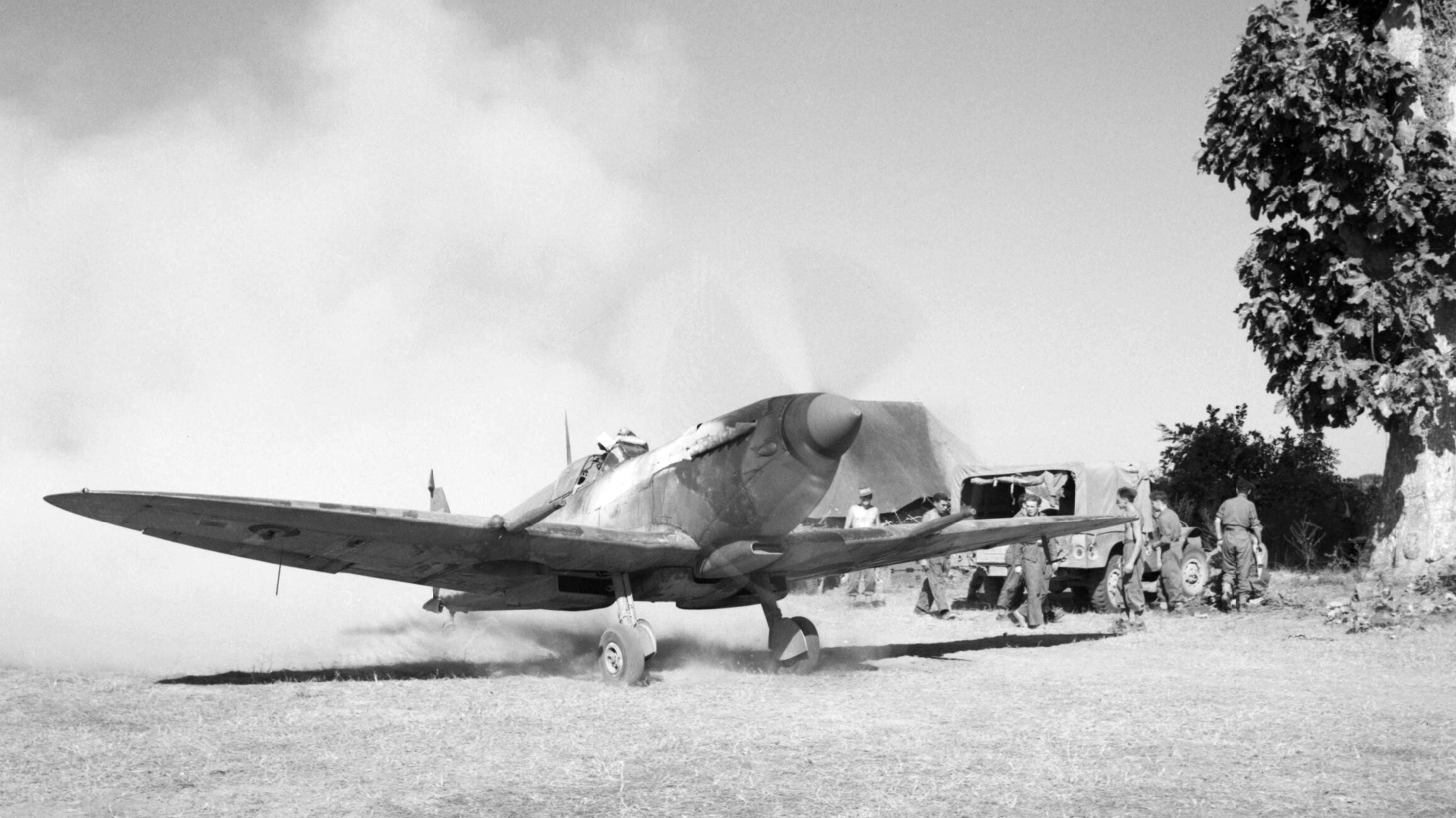 Spitfire MkVIII RAF 155Sqn at Tabingaung 1944 IWM CF271a