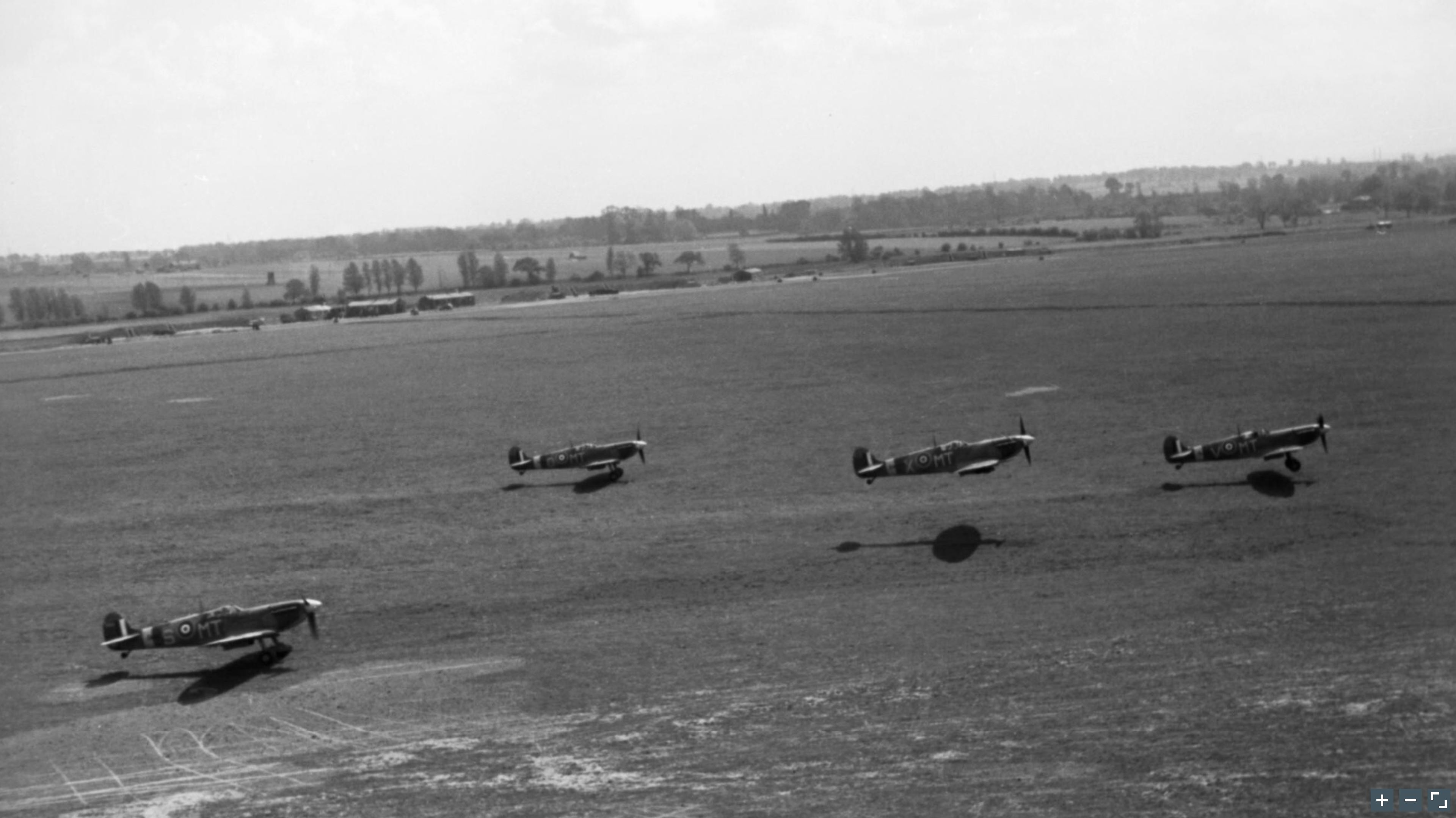 Spitfire MkVb RAF 122Sqn MTS MTO MTX MTV taking off at Hornchurch Essex May 1942 IWM CH5761a
