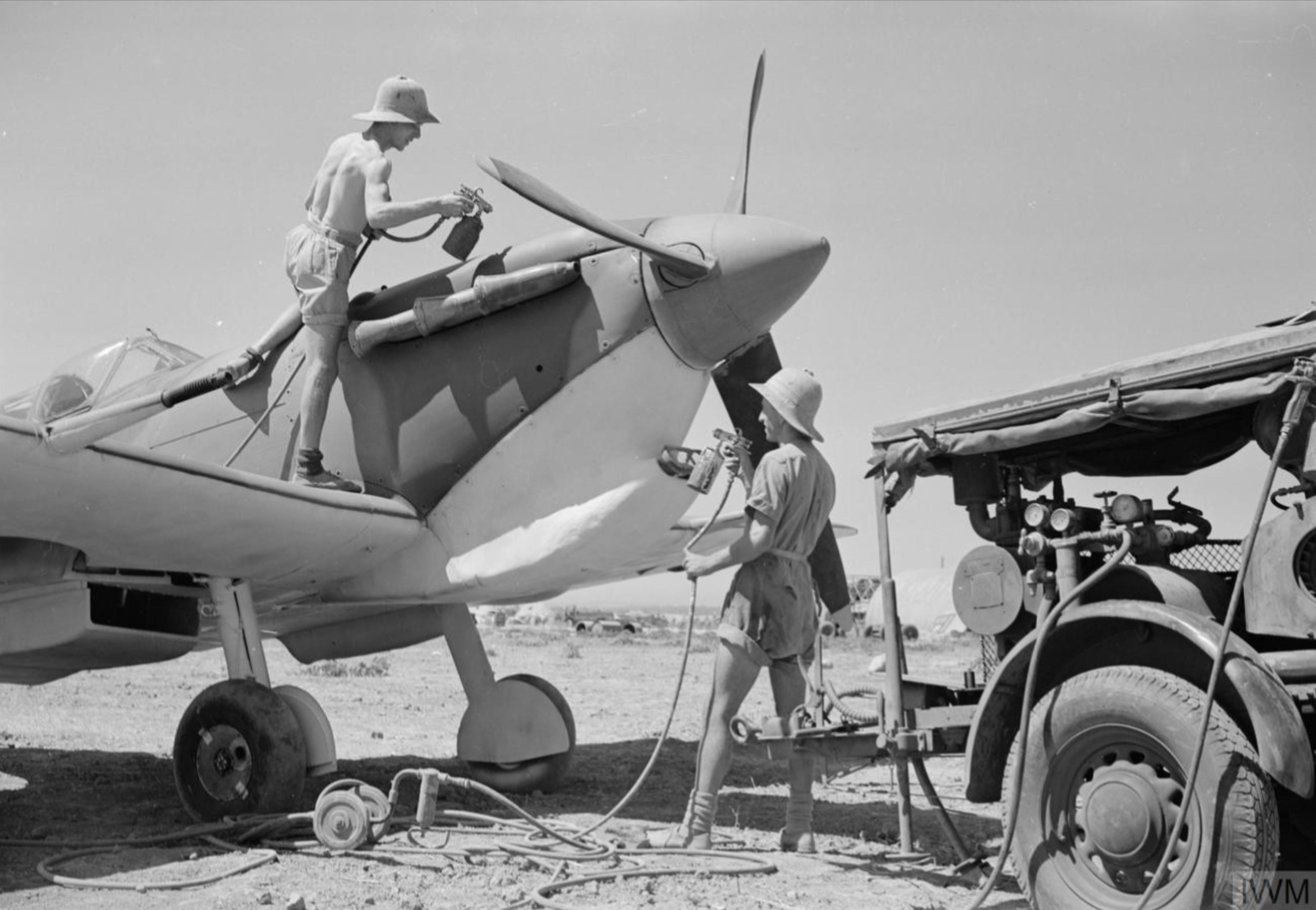 Spitfire MkVc RAF 144 Maintenance Unit at Maison Blanche Algeria IWM CNA2259