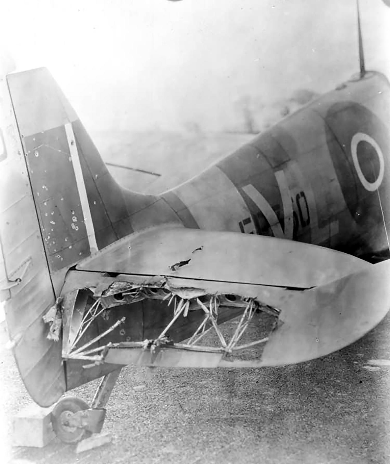 Spitfire MkVc RAF 167Sqn VLF EP350 battle damaged elevator 1942 web 01