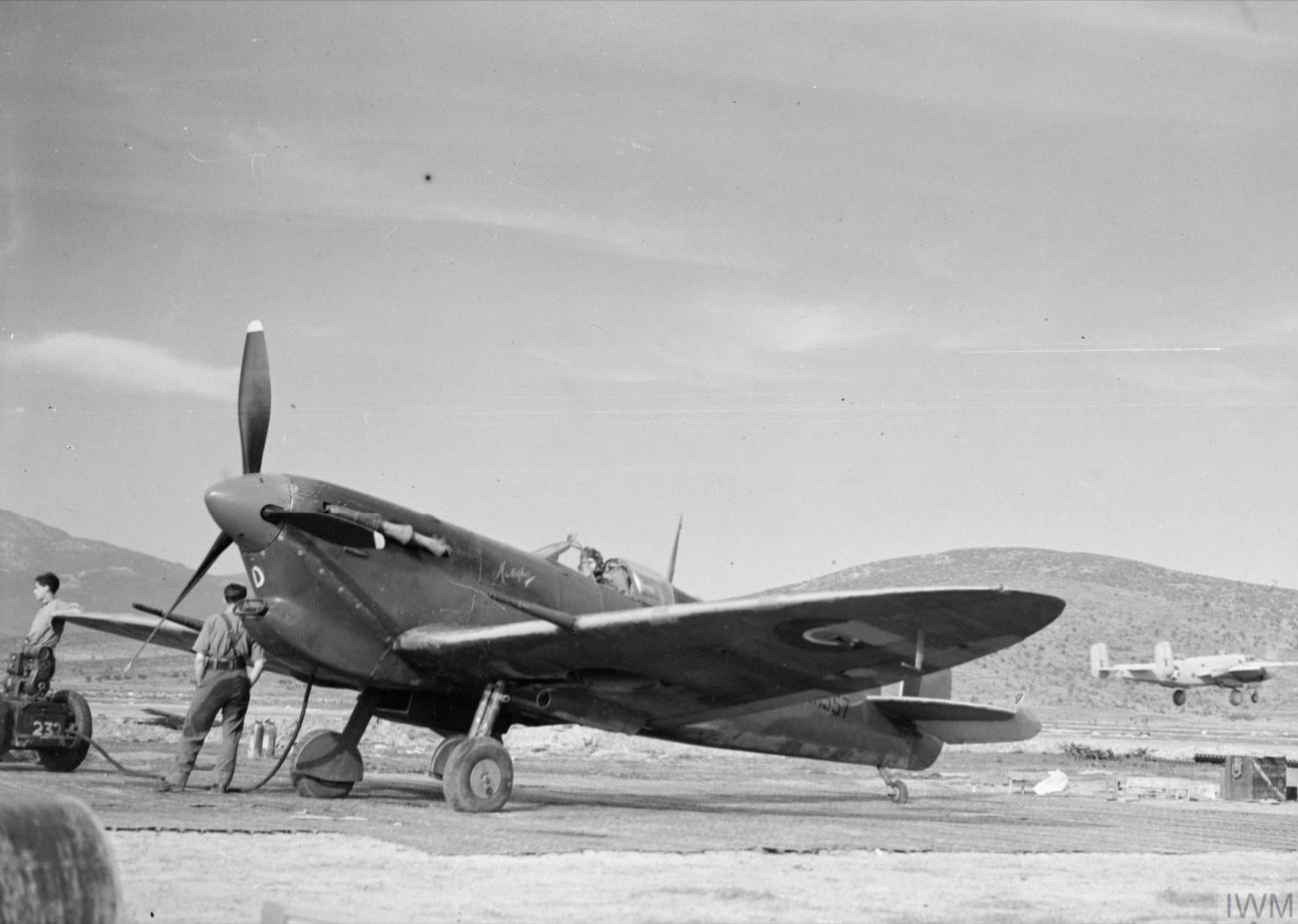 Spitfire MkVcTrop RAF 232Sqn EFD ER557 dispersal at Tingley Algeria IWM CNA286