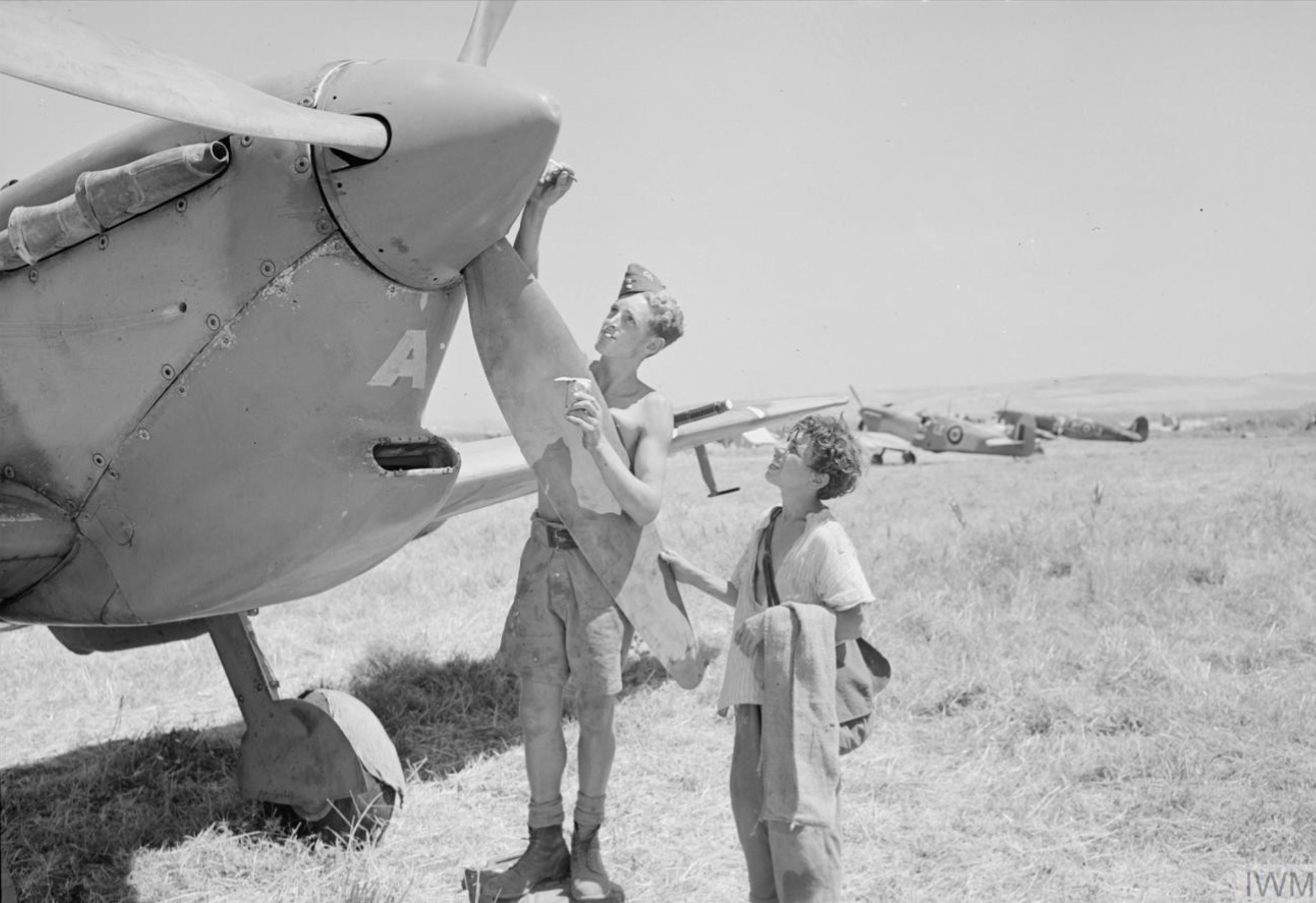 Spitfire MkVcTrop RAF 242Sqn at Lentini East Sicily 1943 IWM CNA1201