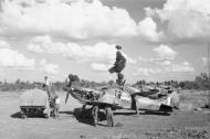 Asisbiz Spitfire MkVIII RAF 155Sqn DGV foreground at Tabingaung 1944 IWM CF269