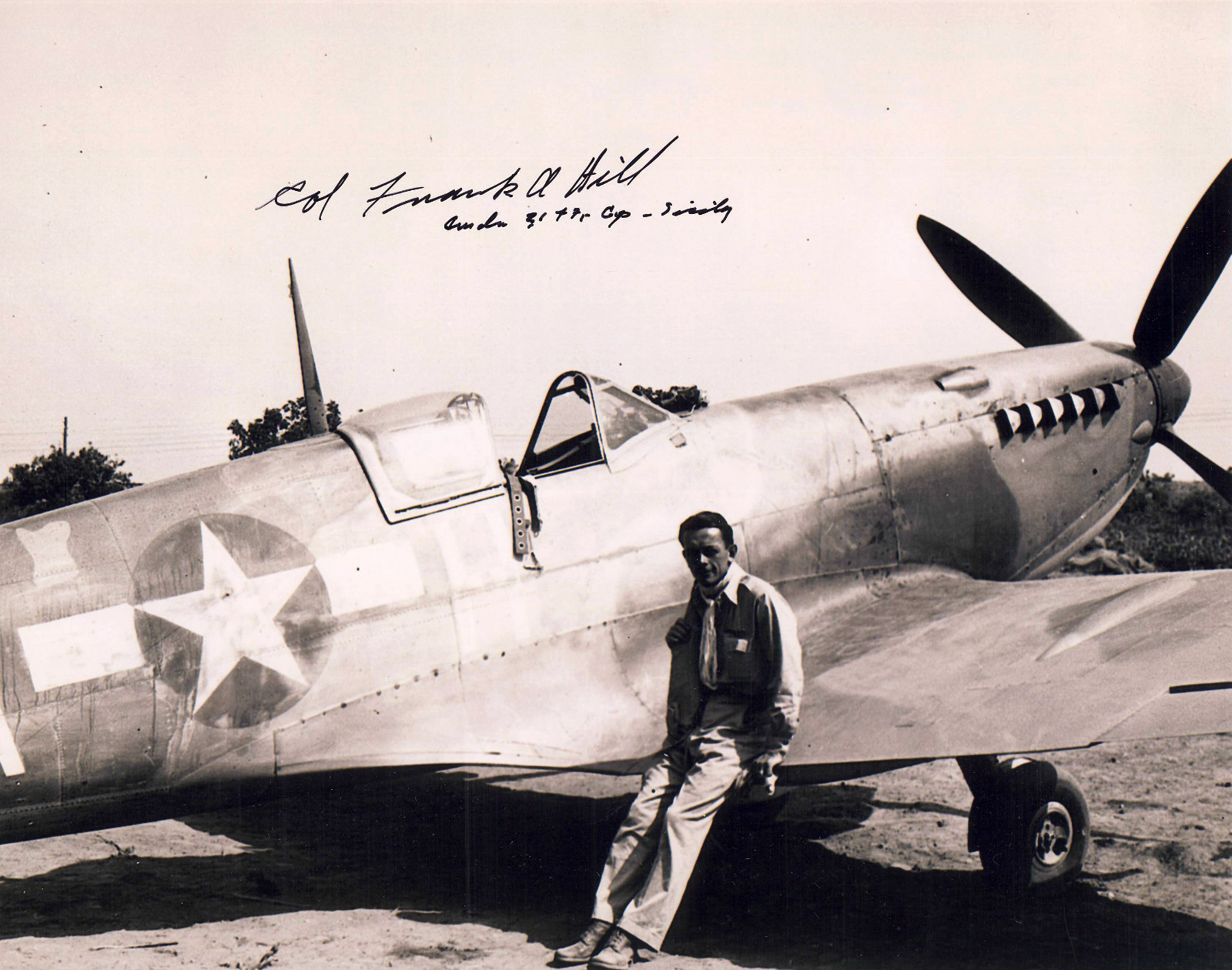 Aircrew USAAF LtCol Frank A Hill CO 31st FG Spitfire IX signed 01