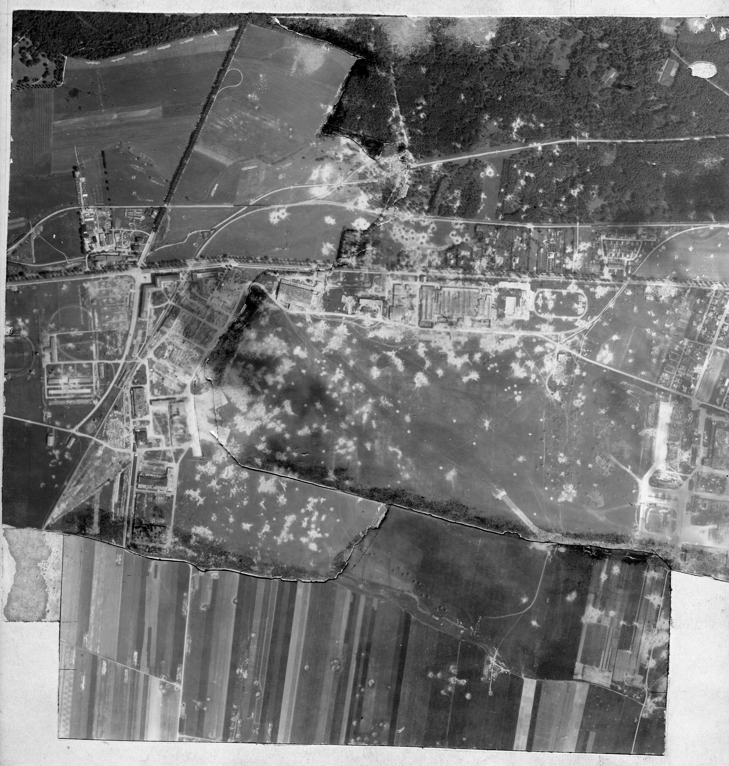 USAAAF 7PG22FS aerial recon photo to Augsburg Airfield Germany Aug 11 1944 01