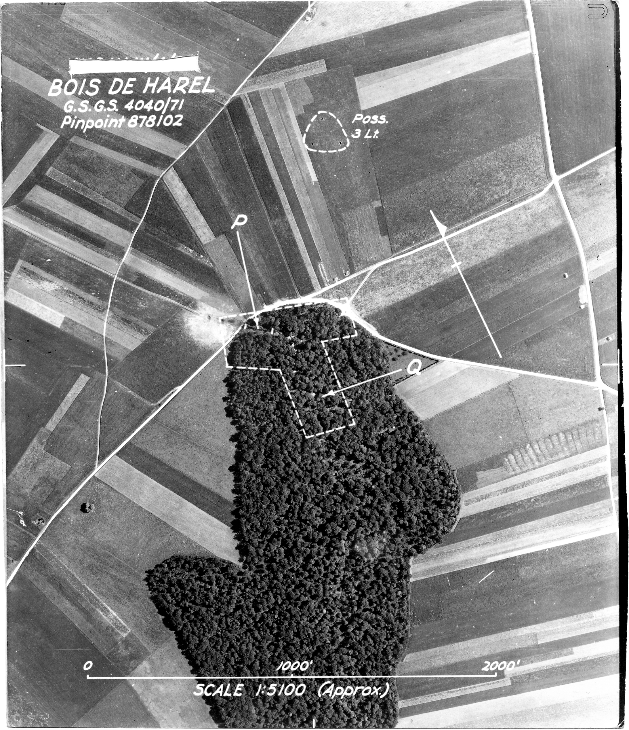 USAAAF 7PG22FS aerial recon photo to Bois De Harel V Weapons Noball France July 7 1944 01